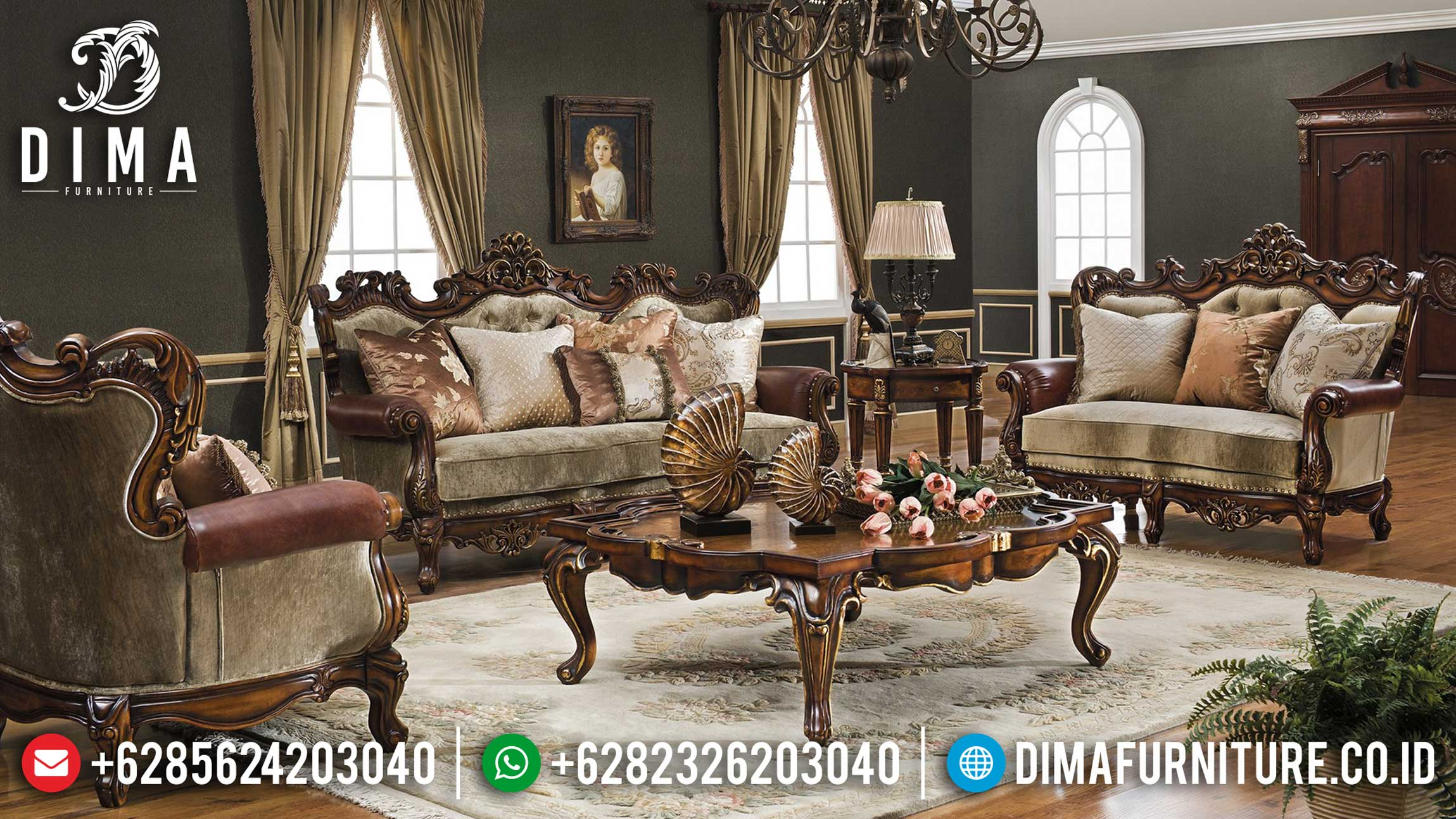 Sofa Mewah Ruang Tamu Santa Luxury Classic Rome Empire Style Best Design TTJ-1244