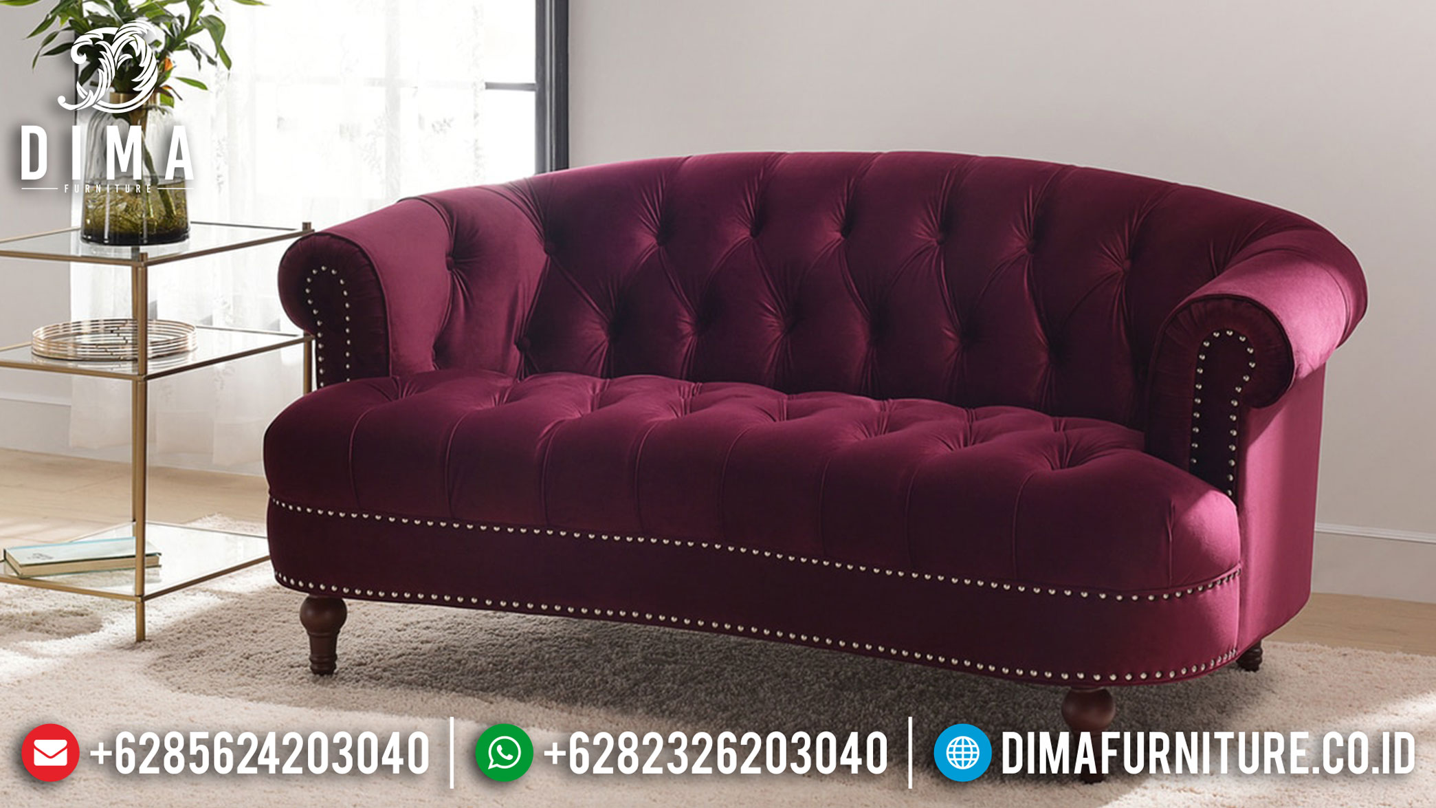 Sofa Tamu 3 Dudukan Model New Chesterfield Minimalis Modern Redheart TTJ-1224
