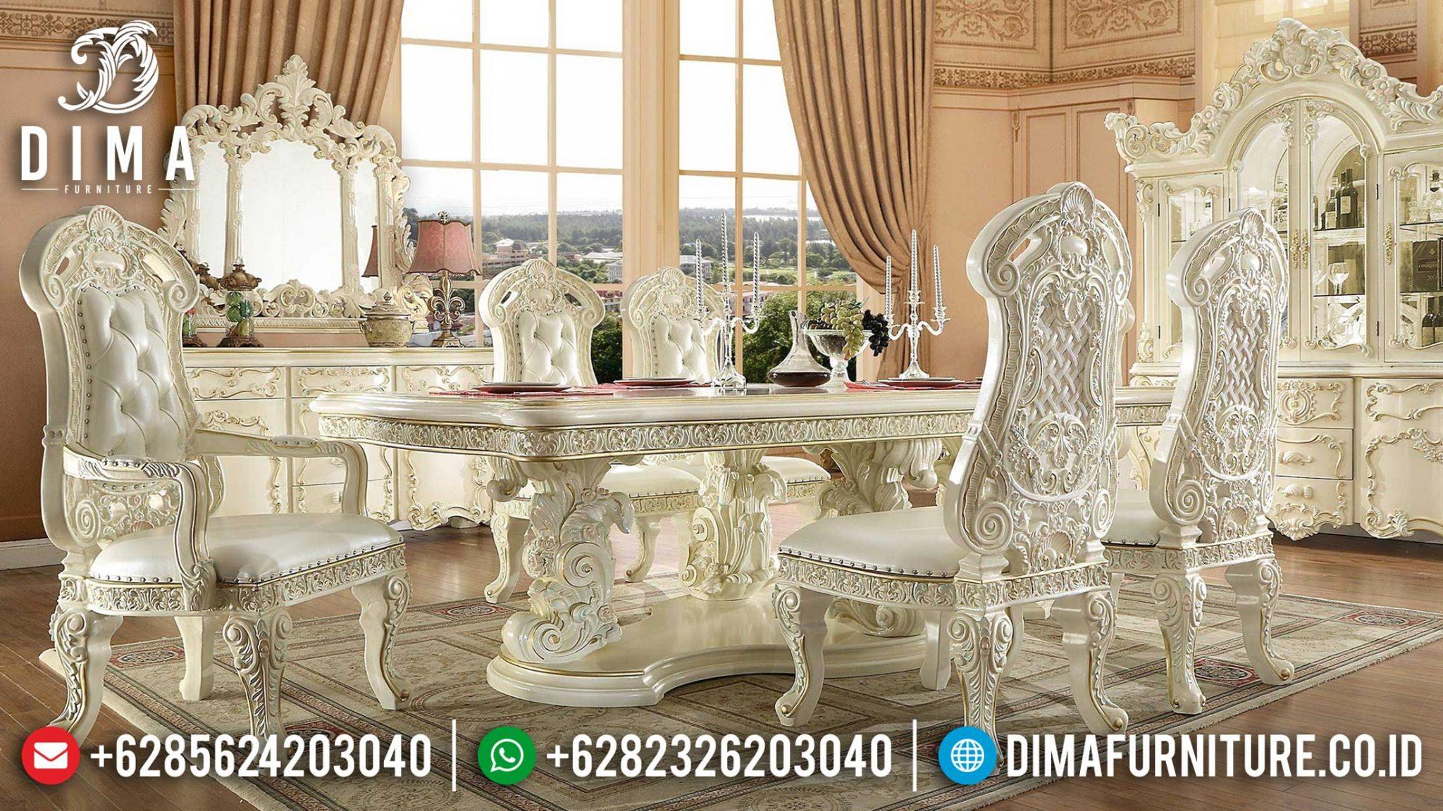 Termewah Meja Makan Mewah Luxury Carving Empire Dining Room Design Mebel Jepara Terbaru TTJ-1188