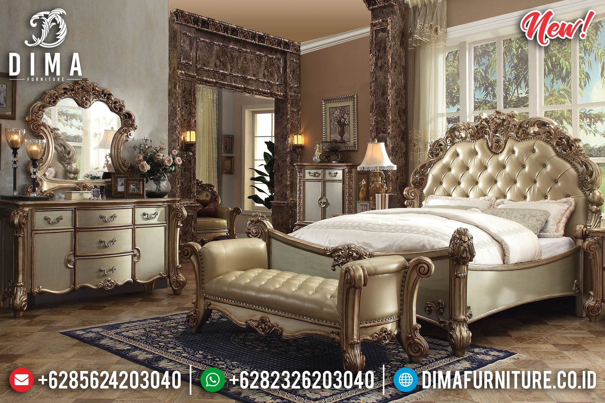 Victorian Classic Tempat Tidur Mewah Ukiran Jepara New Luxury Item TTJ-1231