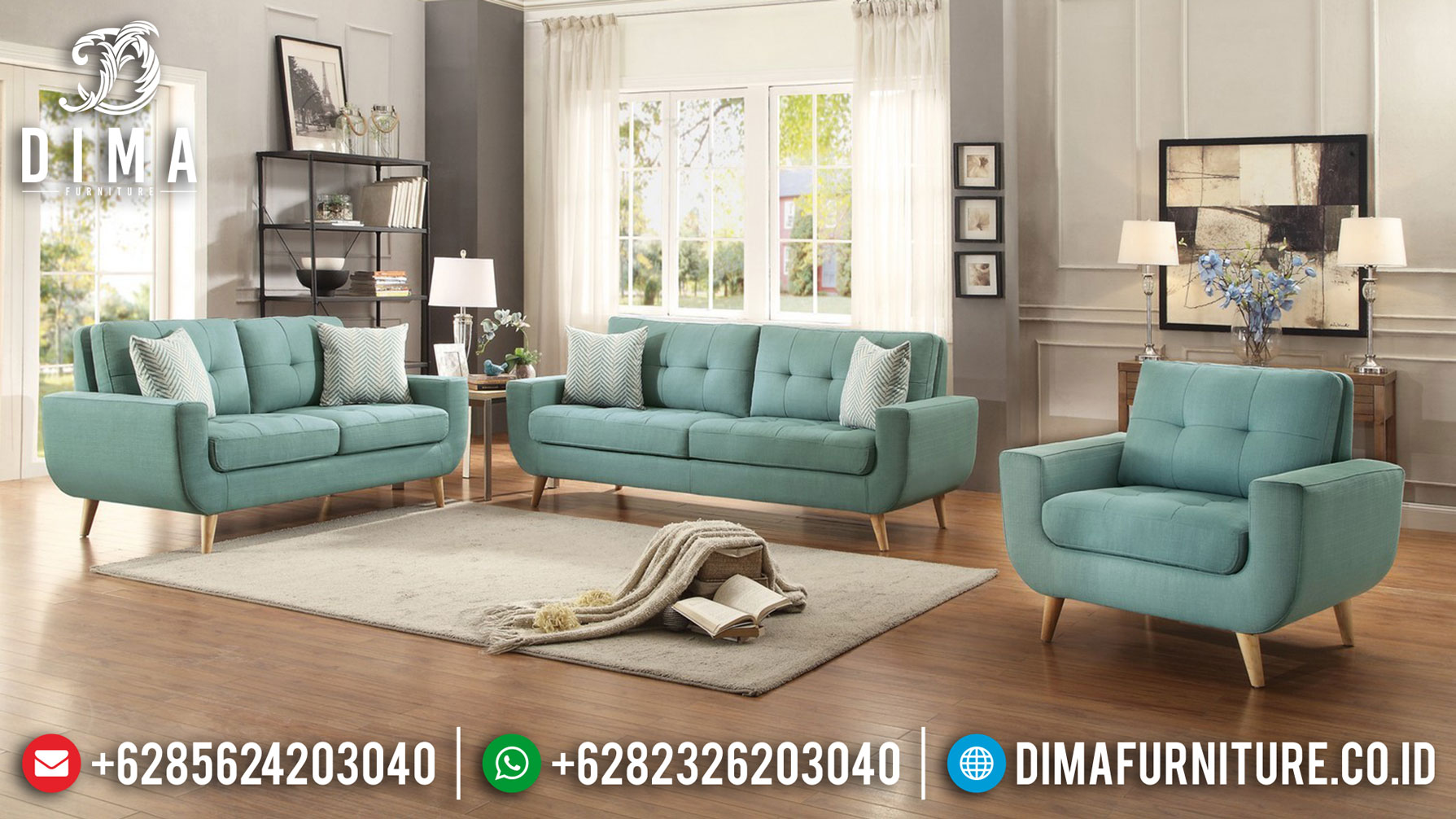 Allepo Sofa Tamu Minimalis Klasik Luxury Natural Jati Furniture Jepara TTJ-1269