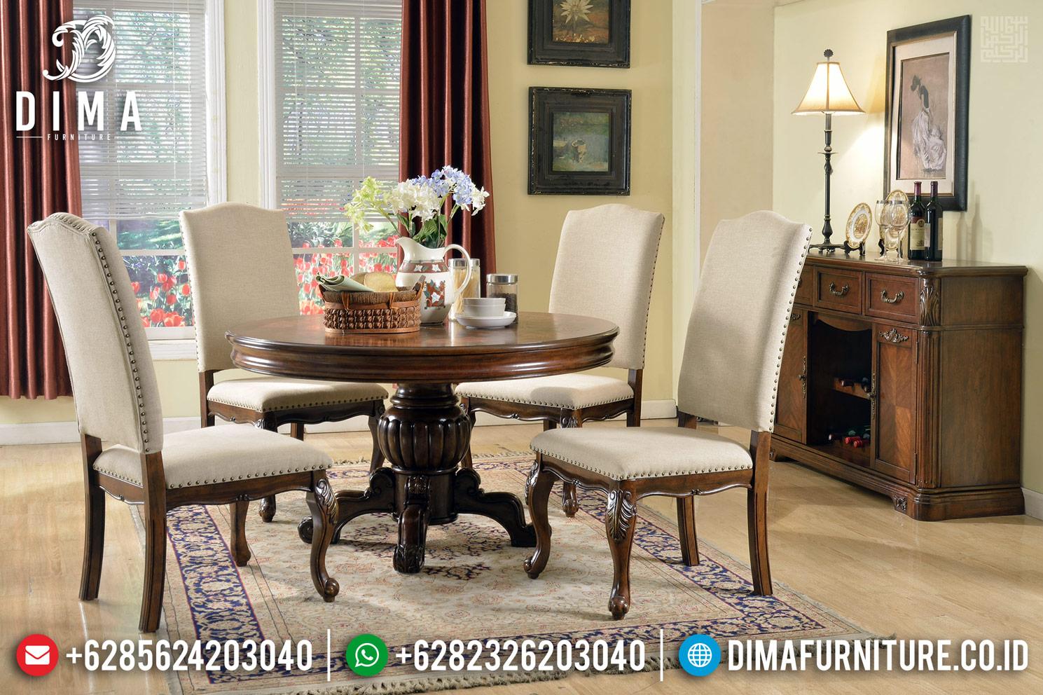 Classic Design Meja Makan Minimalis Jati Bundar Natural Luxury Gloss Color TTJ-1339