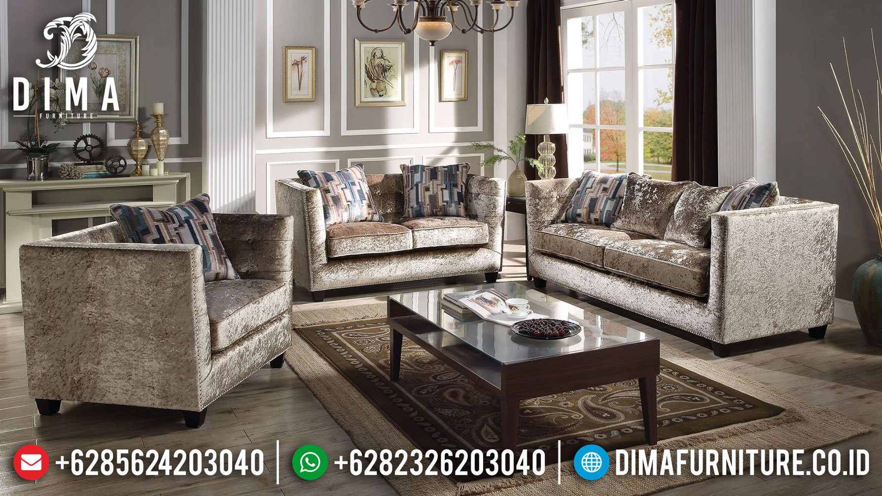 Cream Golden Sofa Tamu Minimalis Jepara Soft Fabric Great Quality TTJ-1260