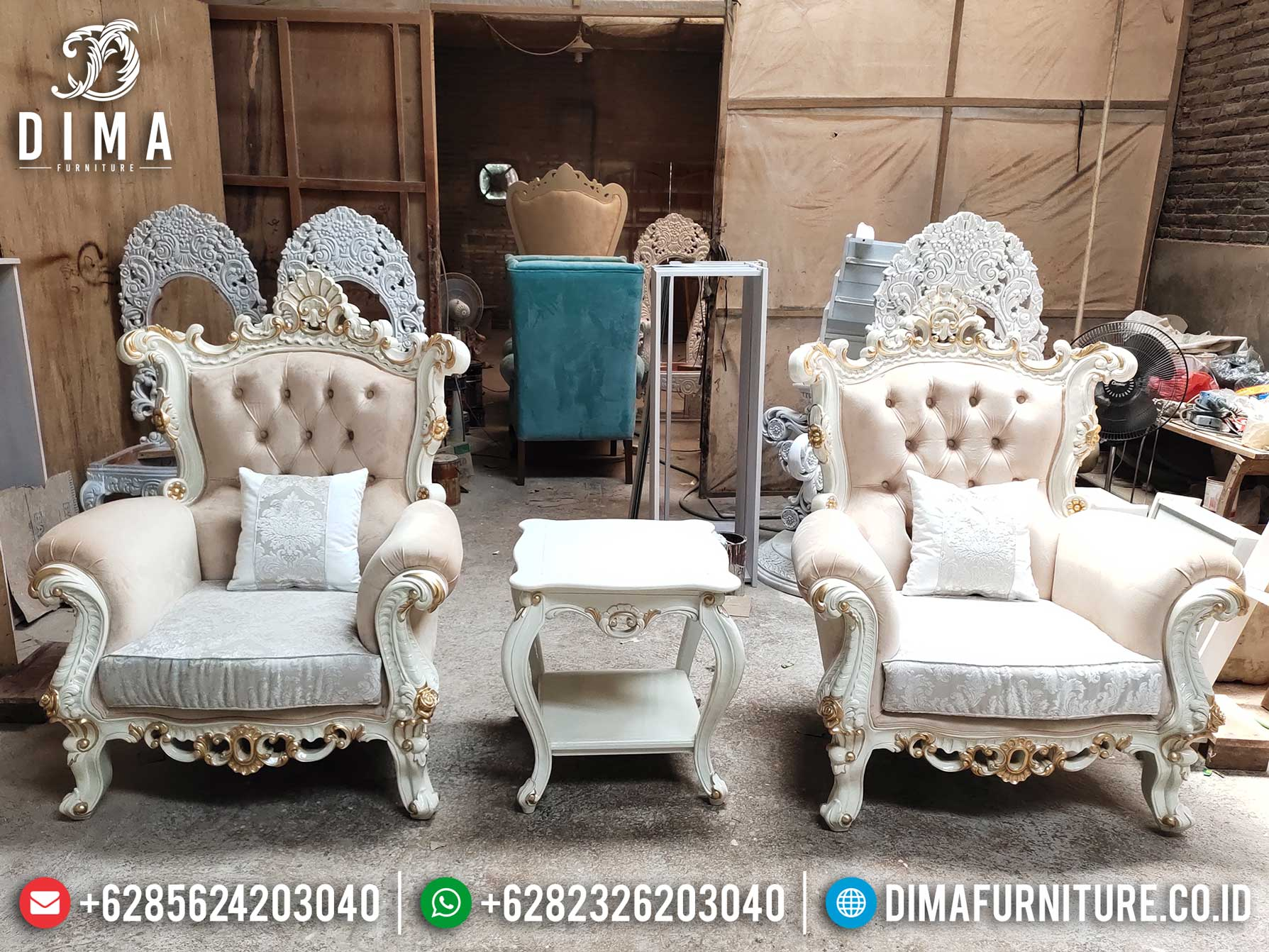 Desain Sofa Tamu Mewah Luxury Classic Single Seater New 2021 Furniture Jepara TTJ-1273