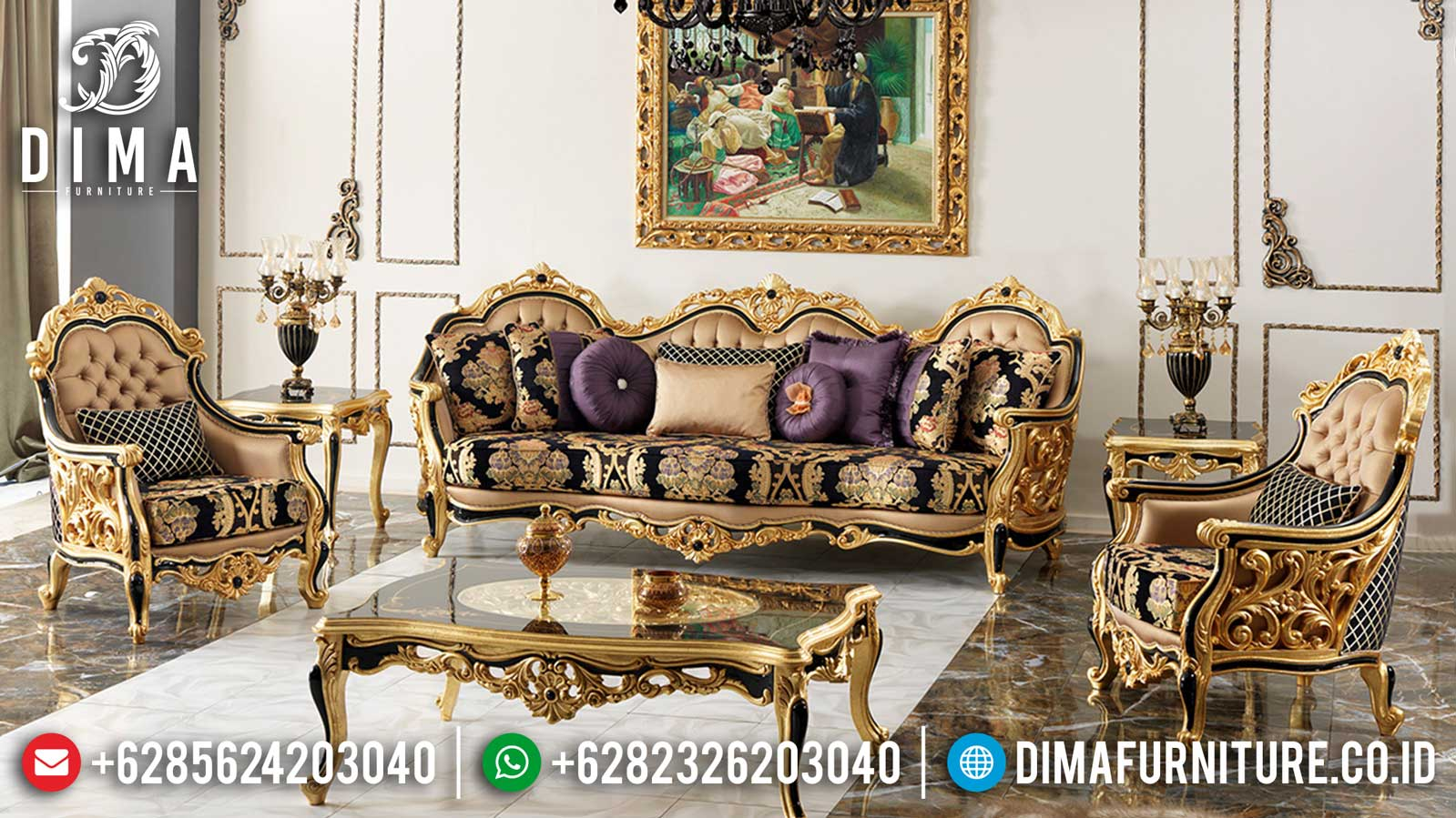 Flash Sale Sofa Tamu Mewah Jepara Golden Sunrise Luxury Carving Great Quality TTJ-1263