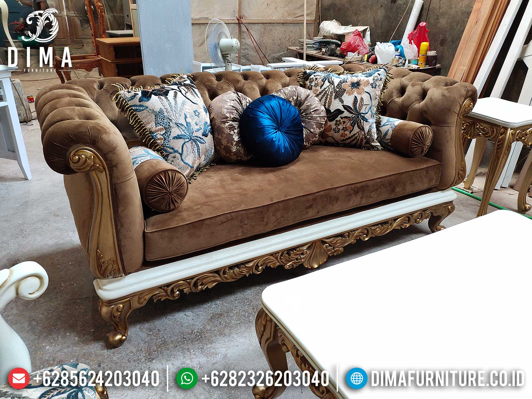Great Sofa Tamu Mewah 3 Seater Luxury Carving Furniture Jepara Terbaru TTJ-1276