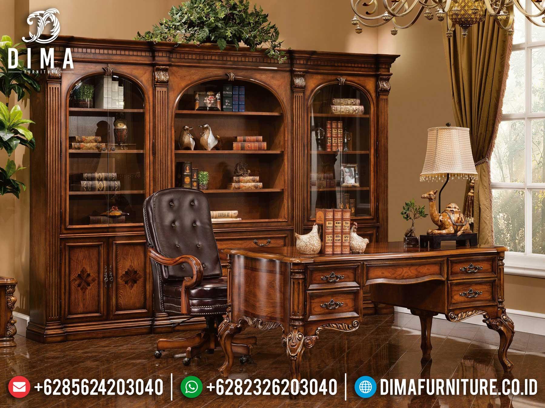Harga Meja Kantor Mewah Natural Jati Luxury Classic Carving Jepara TTJ-1307