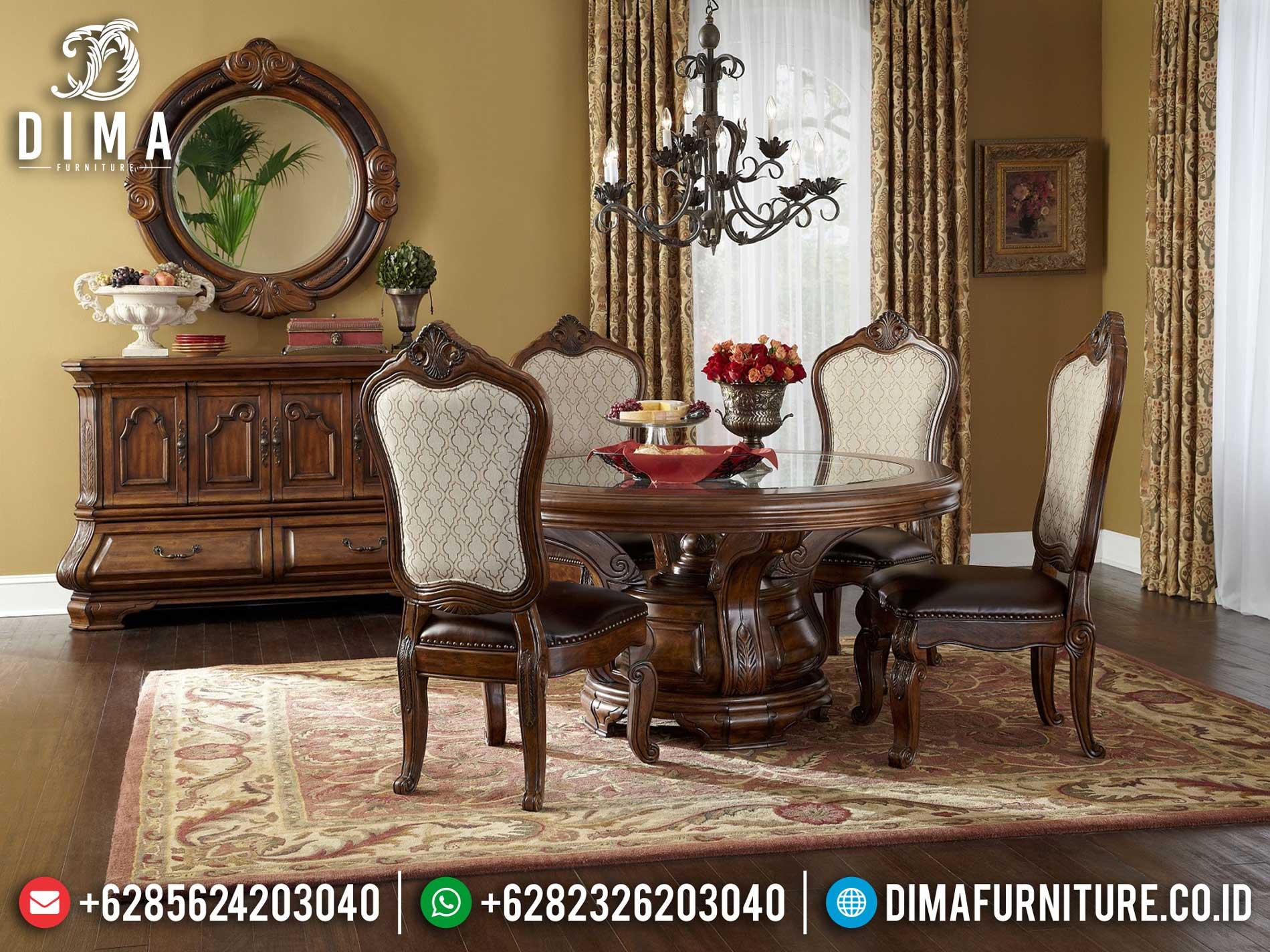 Harga Meja Makan Minimalis Jepara Natural Jati Model Bulat Ukiran Luxury TTJ-1315