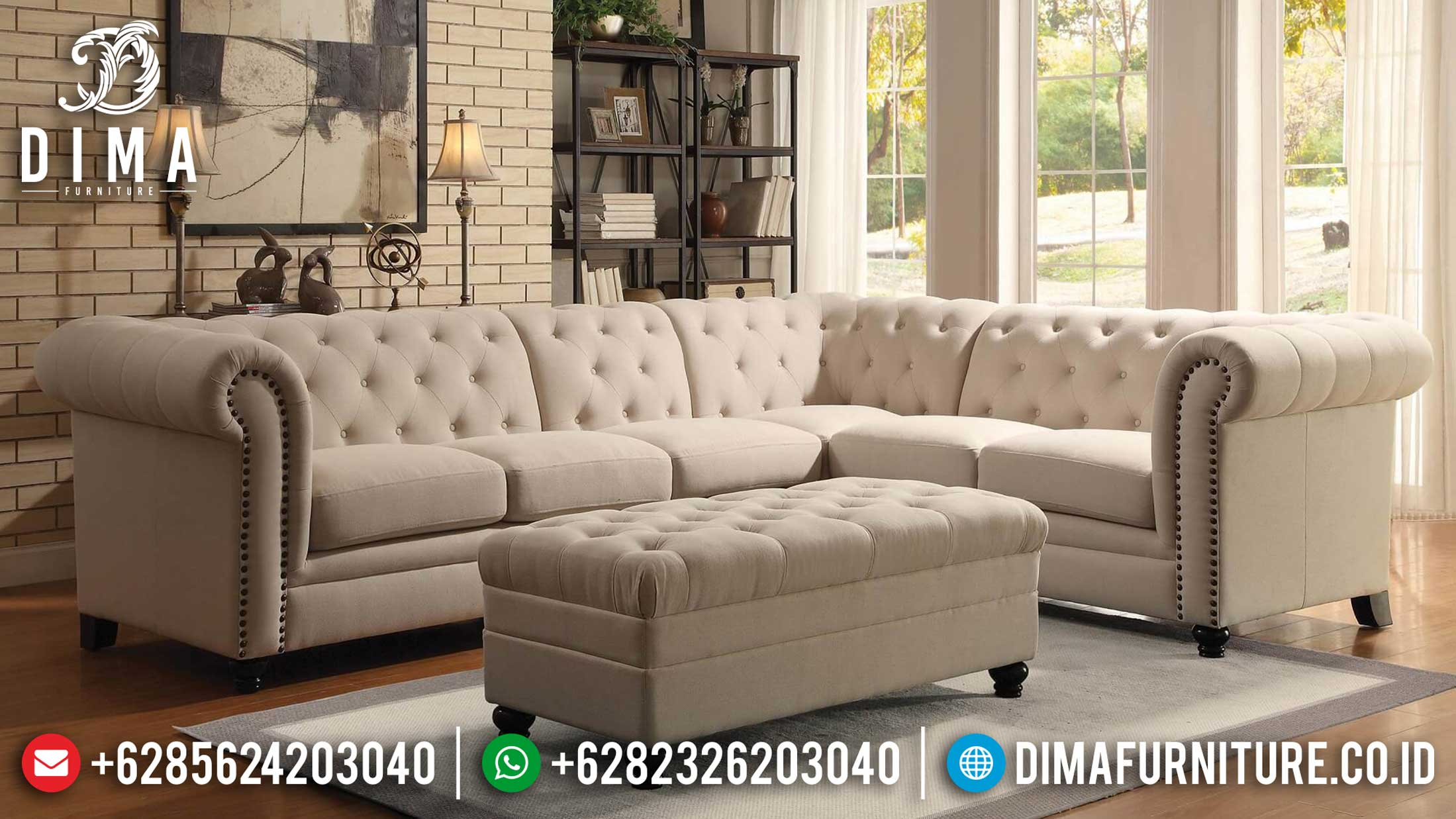 Harga Sofa Tamu Jepara Chesterfield Natural Jati Classic Best Seller TTJ-1271