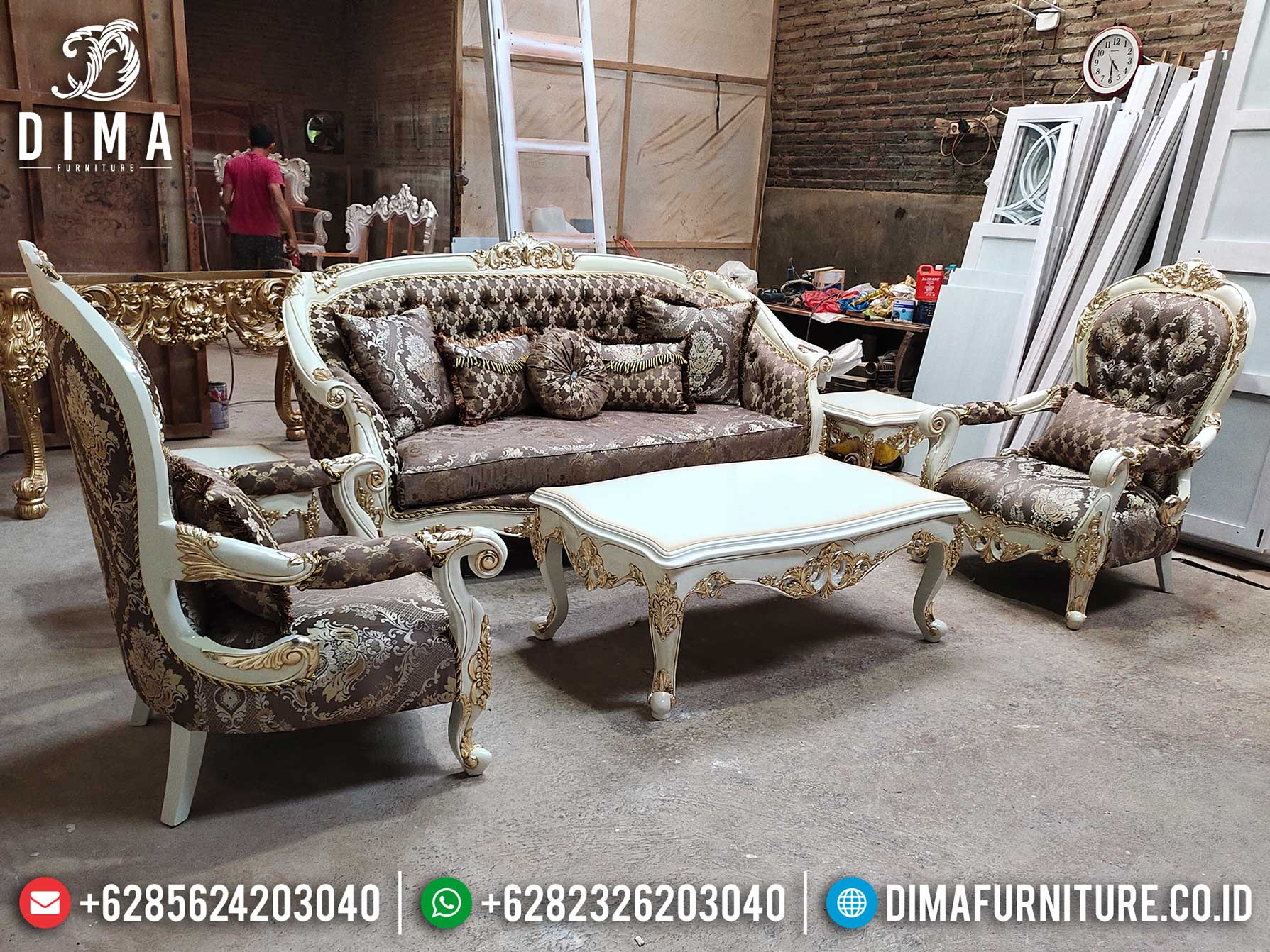 High Quality Sofa Tamu Mewah Luxury Carving Best Fabric Upholstery TTJ-1277