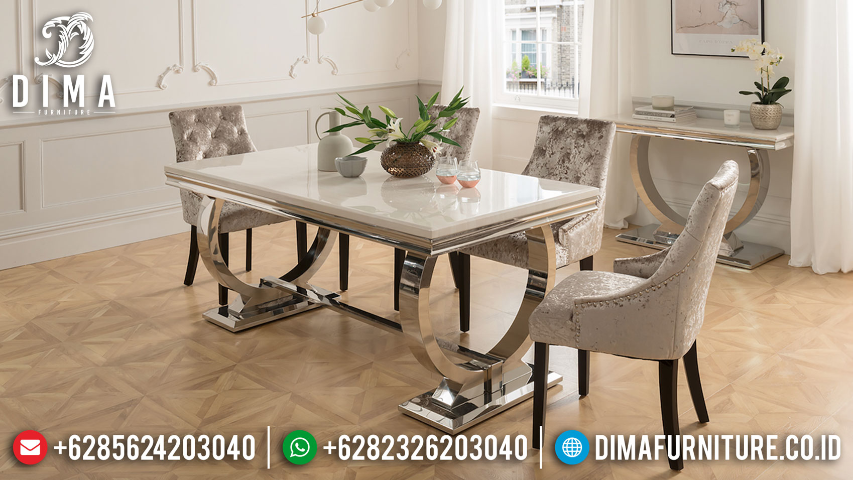 Inspiring Design Meja Makan Minimalis Stainless Steel Deluxe Style Room TTJ-1286