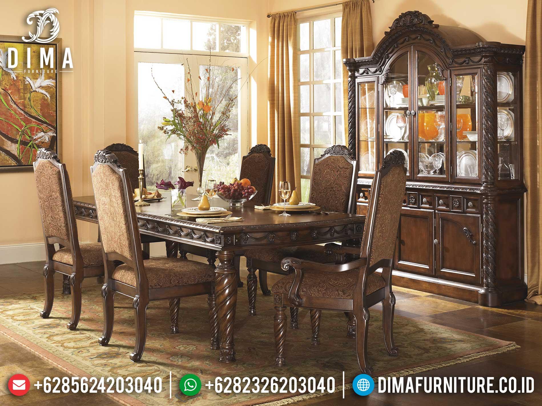 Jual Meja Makan Minimalis Jati Natural Classic Furniture Jepara Luxury TTJ-1311