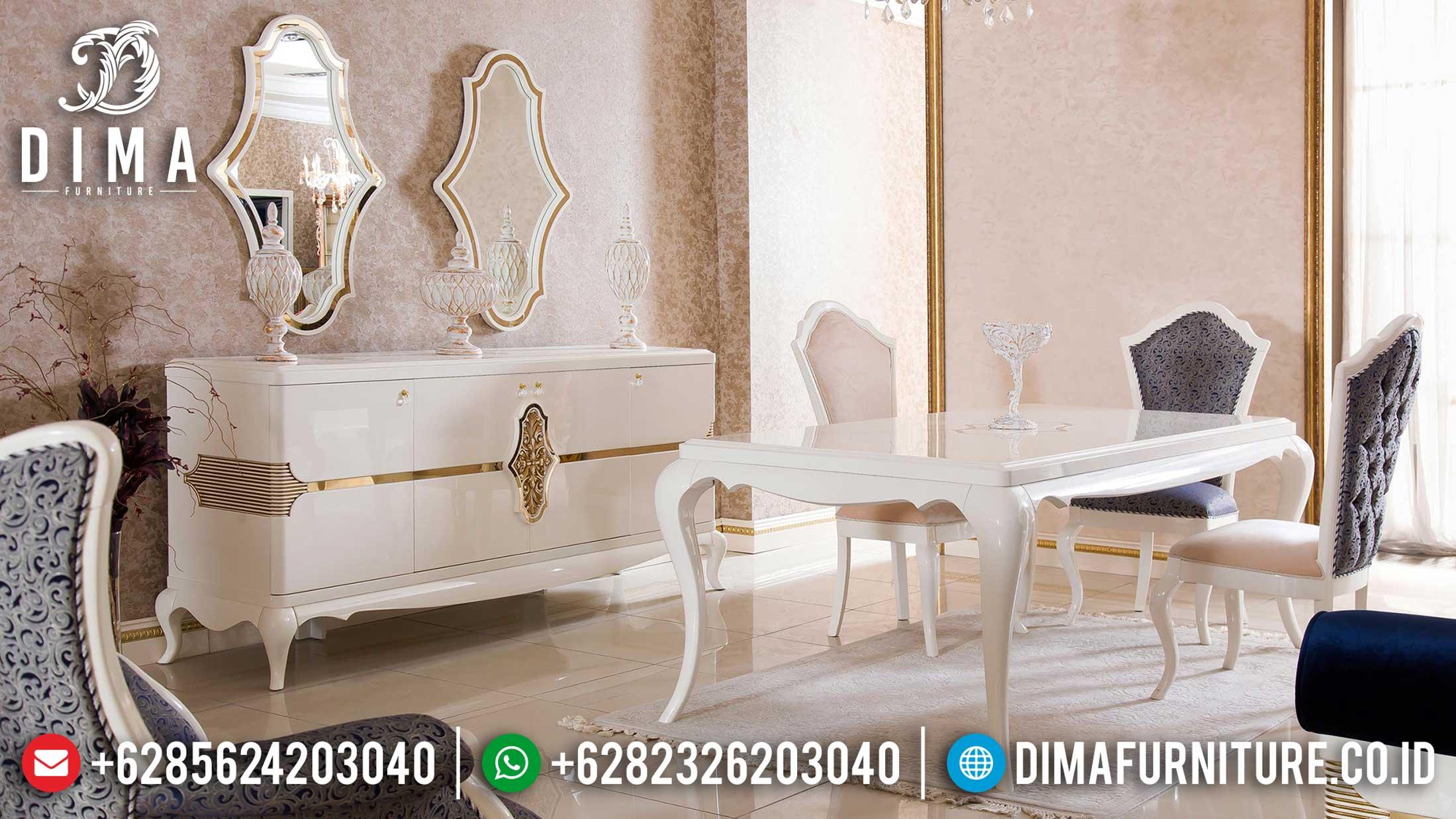 Jual Meja Makan Minimalis Mewah Luxury White Duco Classic New 2021 TTJ-1284