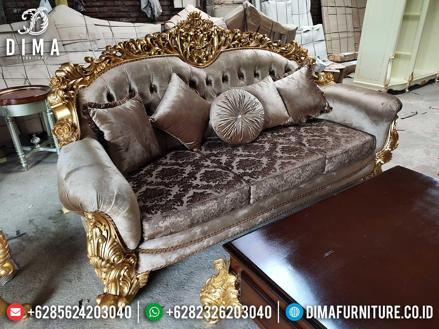Jual Sofa 3 Dudukan Mewah Desain Ruang Tamu Luxury Inspiring Mebel Jepara TTJ-1279