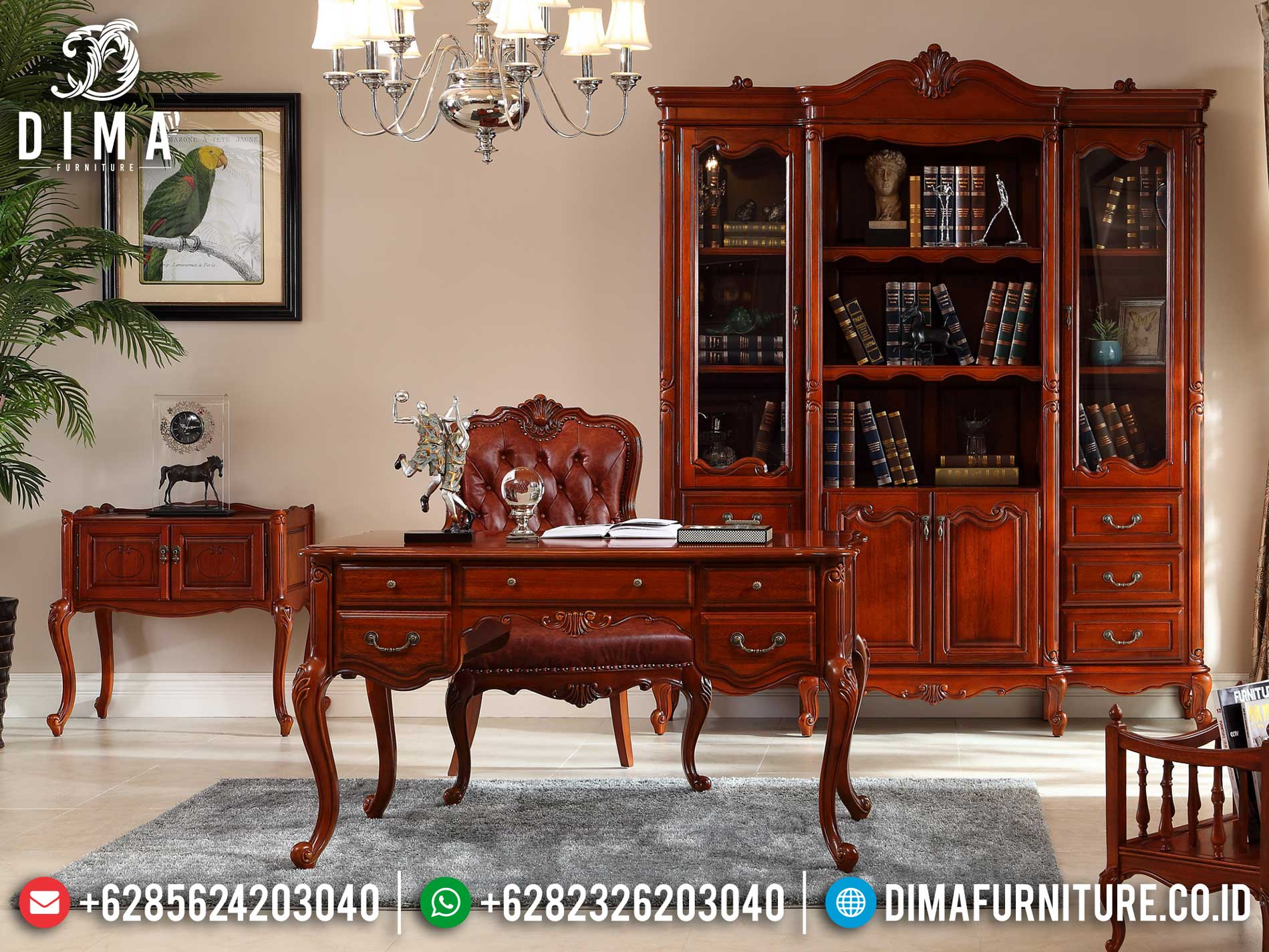 Meja Kantor Jati Minimalis Natural Classic Salak Mebel Jepara Terpercaya TTJ-1304