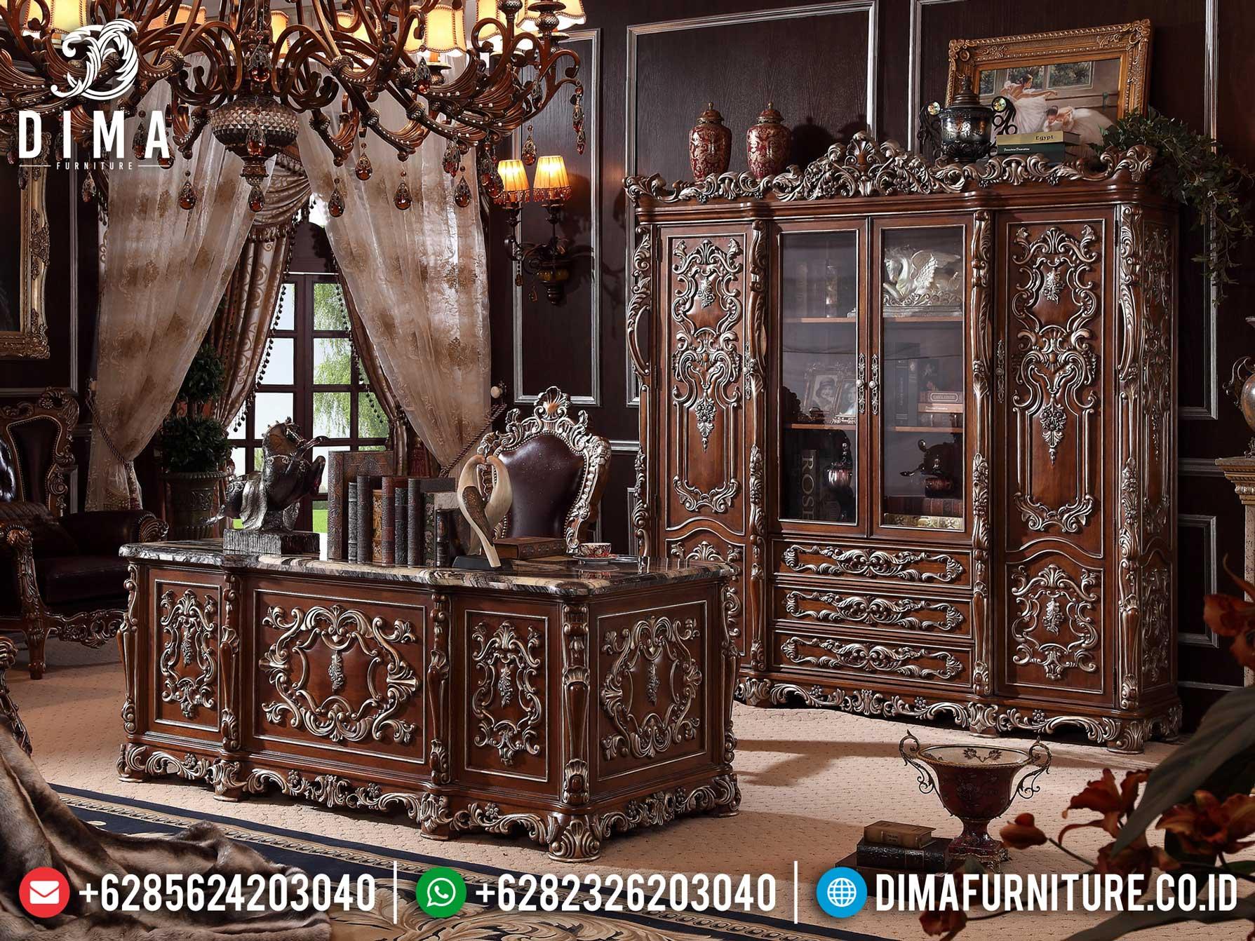 Meja Kantor Mewah Jati Luxury Natural Classic Furniture Jepara Terbaru Ttj-1302