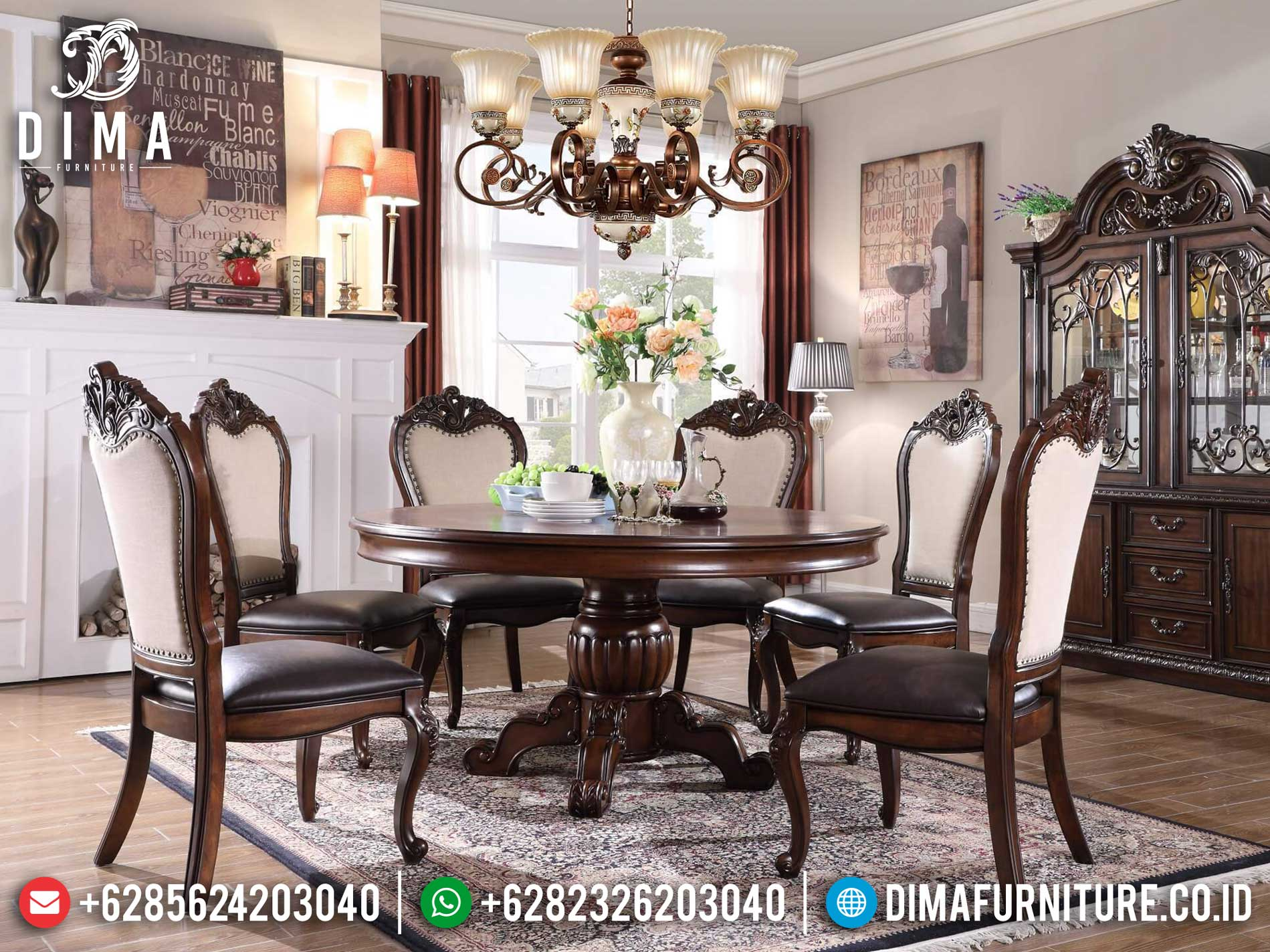 Meja Makan Minimalis Bundar Ukiran Jepara Luxury New Set Dining Room 2021 TTJ-1319