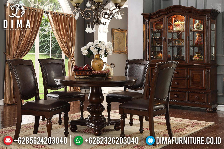 Meja Makan Minimalis Claudia Model Bundar Natural Luxury Jati Jepara TTJ-1337