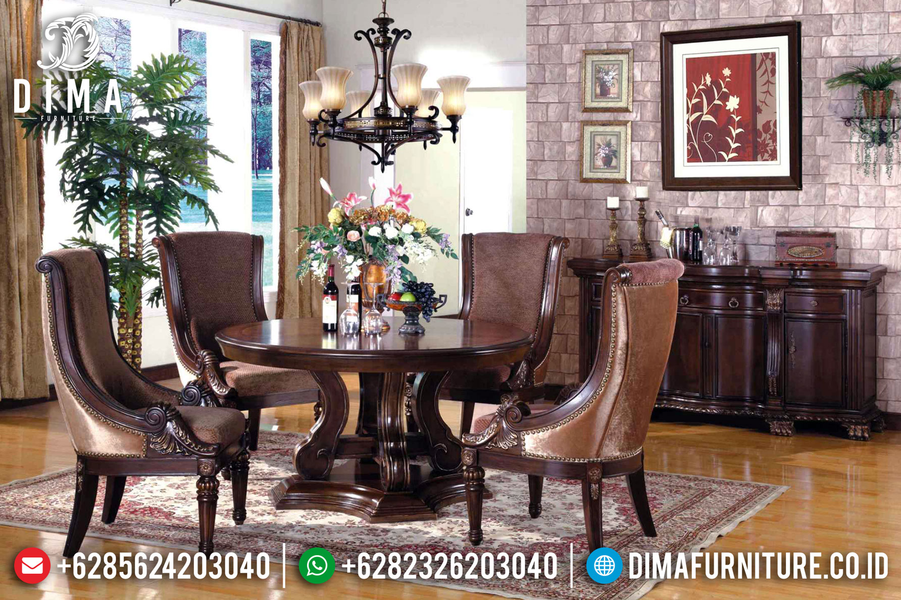 Meja Makan Minimalis Jati Dawson Natural Luxury Classic Furniture Jepara TTJ-1340