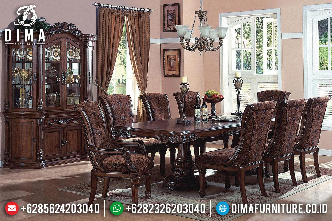 Meja Makan Minimalis Klasik Jati Natural Salak Dark Brown Luxury TTJ-1333