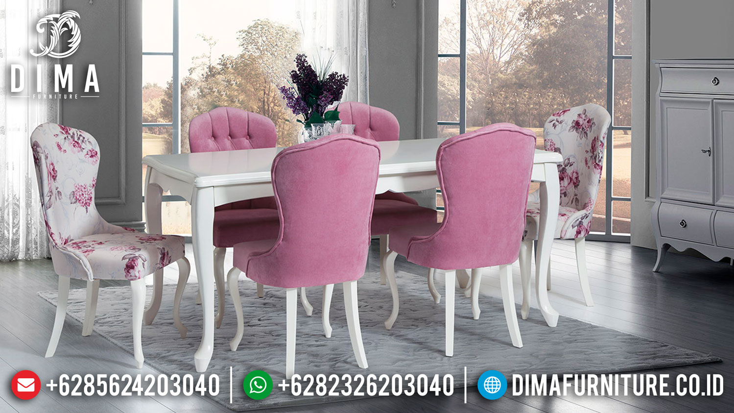 New Meja Makan Minimalis Shabby Fabric Best Quality Foam Furniture Jepara TTJ-1288