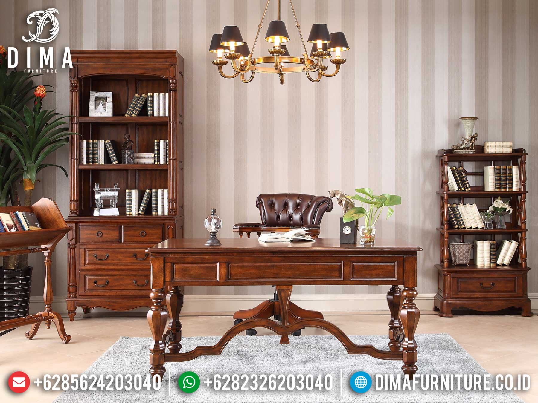Set Meja Kantor Minimalis Jati Klasik Natural Auburn Luxury Type Salak Color TTJ-1308