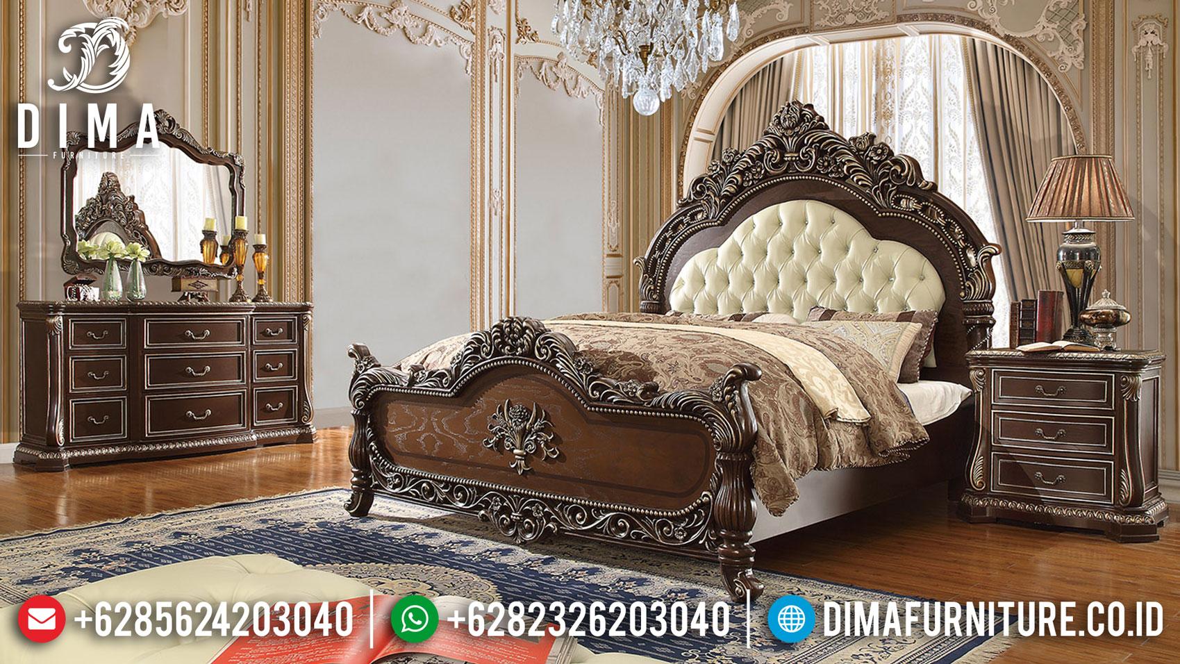 Set Tempat Tidur Mewah Jati Natural Glossy New Model Kekinian TTJ-1329