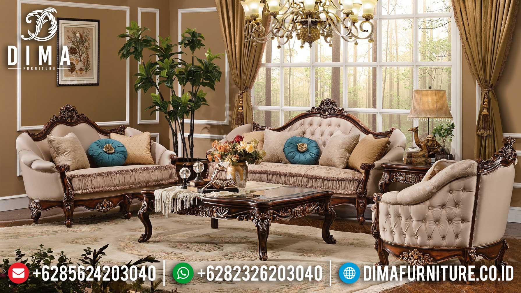 Sofa Tamu Mewah Jati Natural Dark Brown Luxury Carving Furniture Jepara TTJ-1265