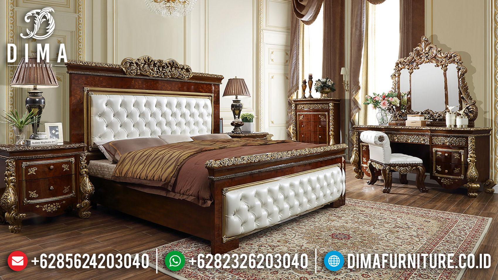 Tempat Tidur Mewah Olethea Natural Luxury Classic Marquetry Wood Motif TTJ-1331
