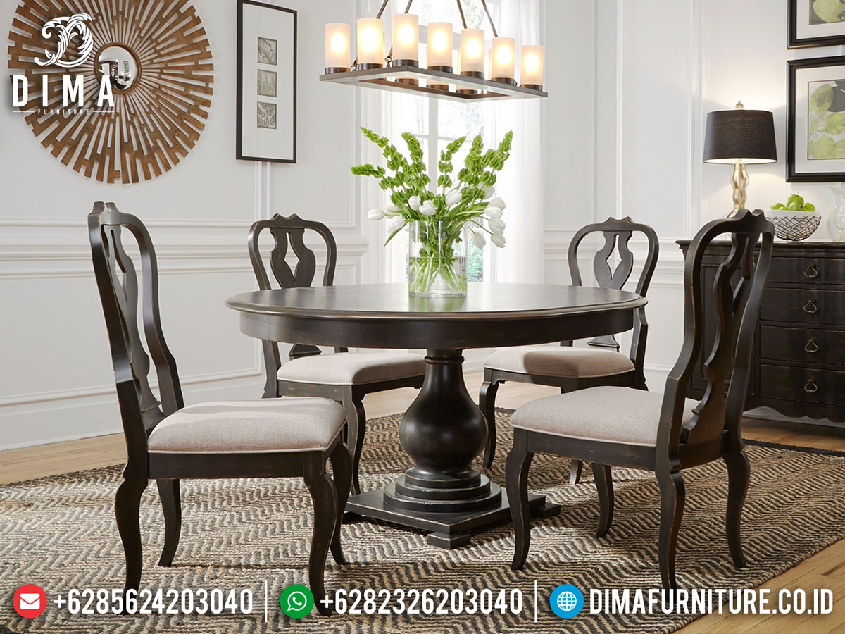 Jual Meja Makan Minimalis Bundar Luxury Classic Type Furniture Jepara TTJ-1355