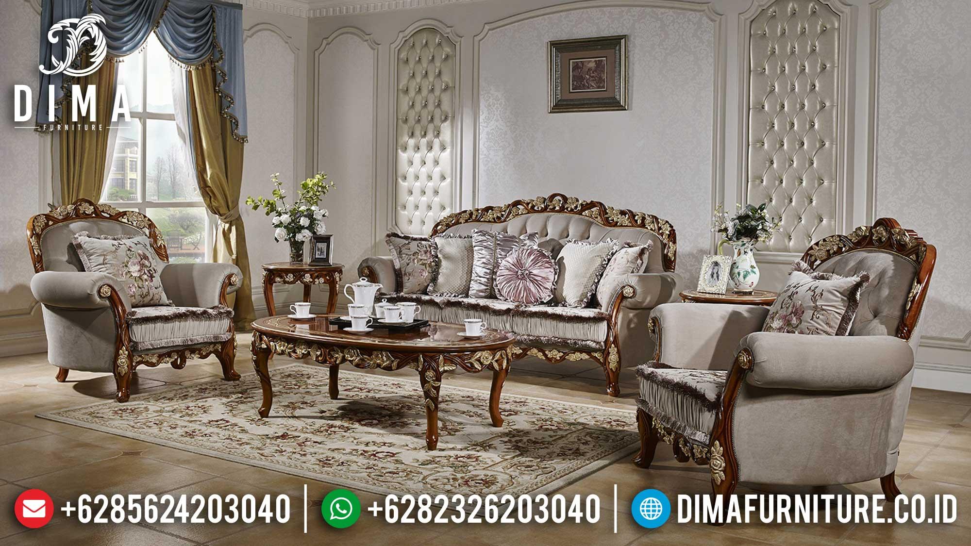 Beli Sofa Tamu Mewah Jepara Luxury Classic Natural Jati Perhutani TTJ-1497