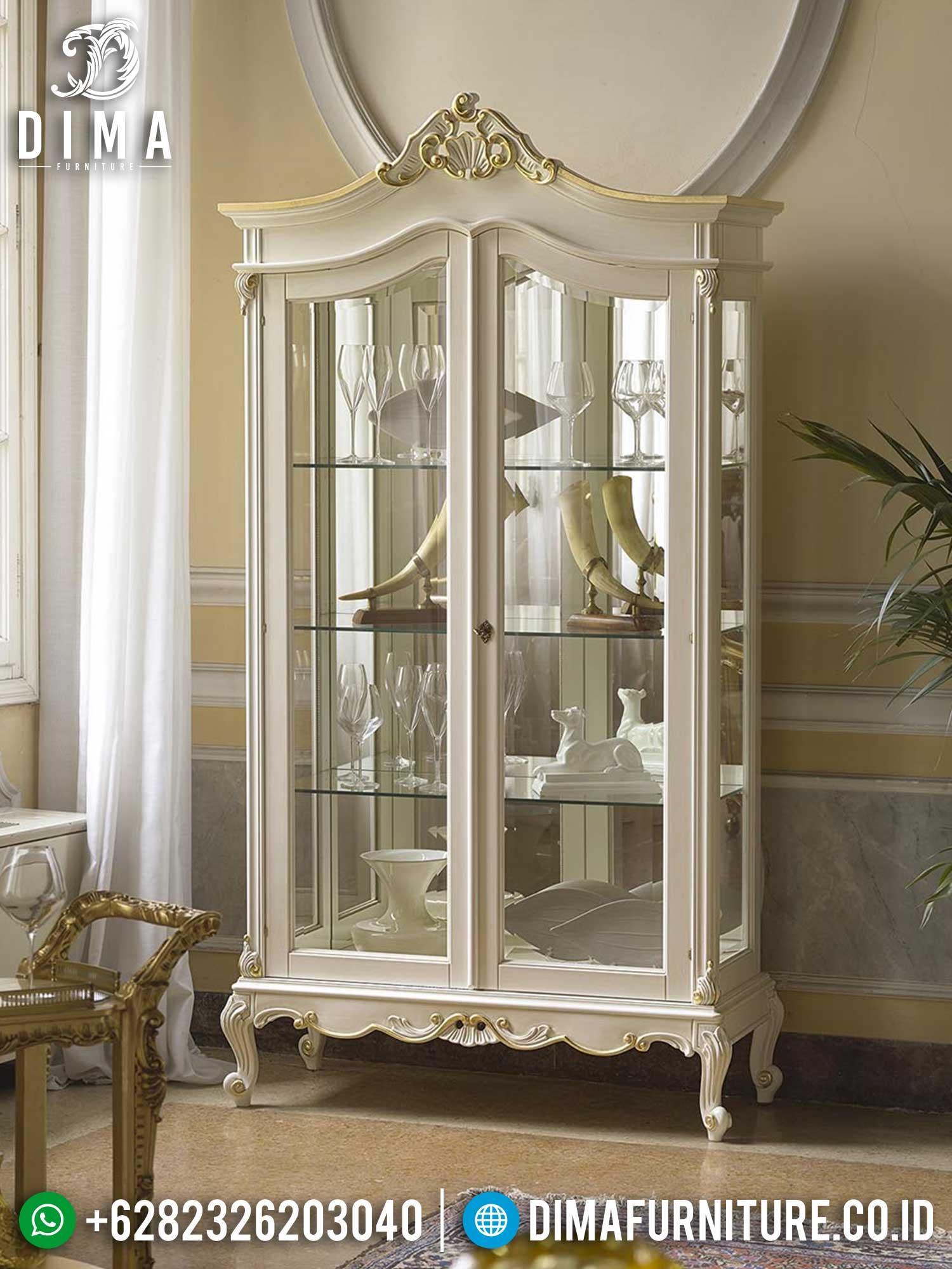 Best Seller Lemari Pajangan Kaca Mewah Ukiran Jepara New Luxurious Set Design TTJ-1452