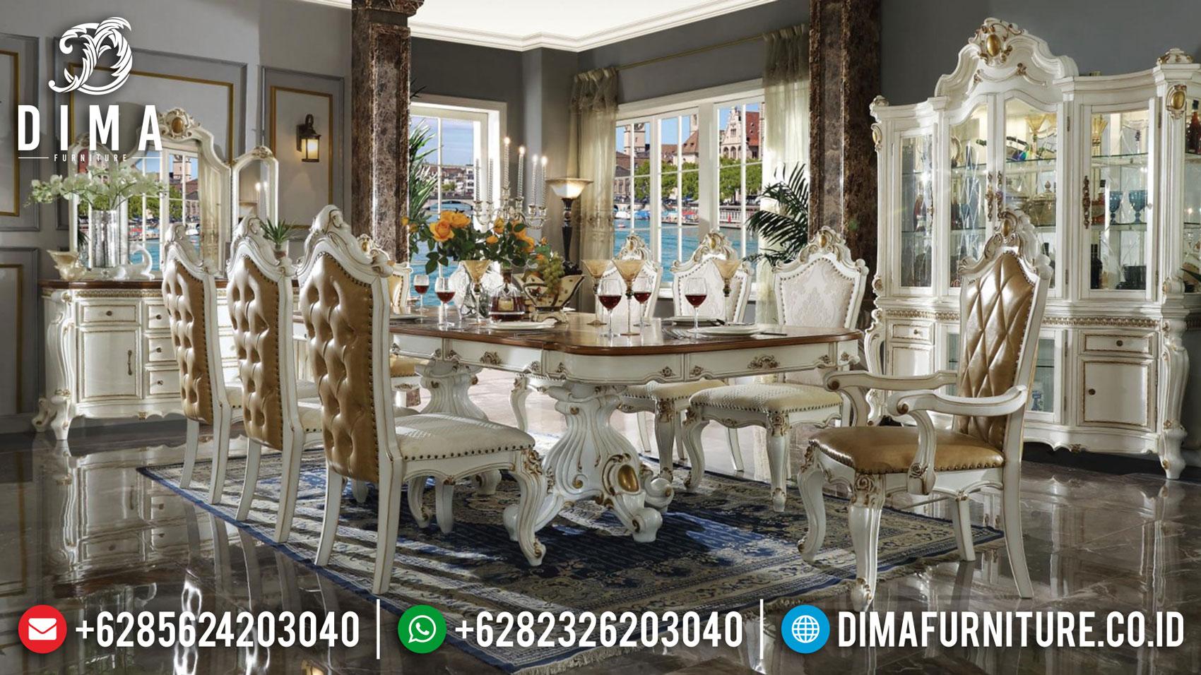 Best Style Meja Makan Mewah Luxury Carving Furniture Jepara Terbaru TTJ-1371