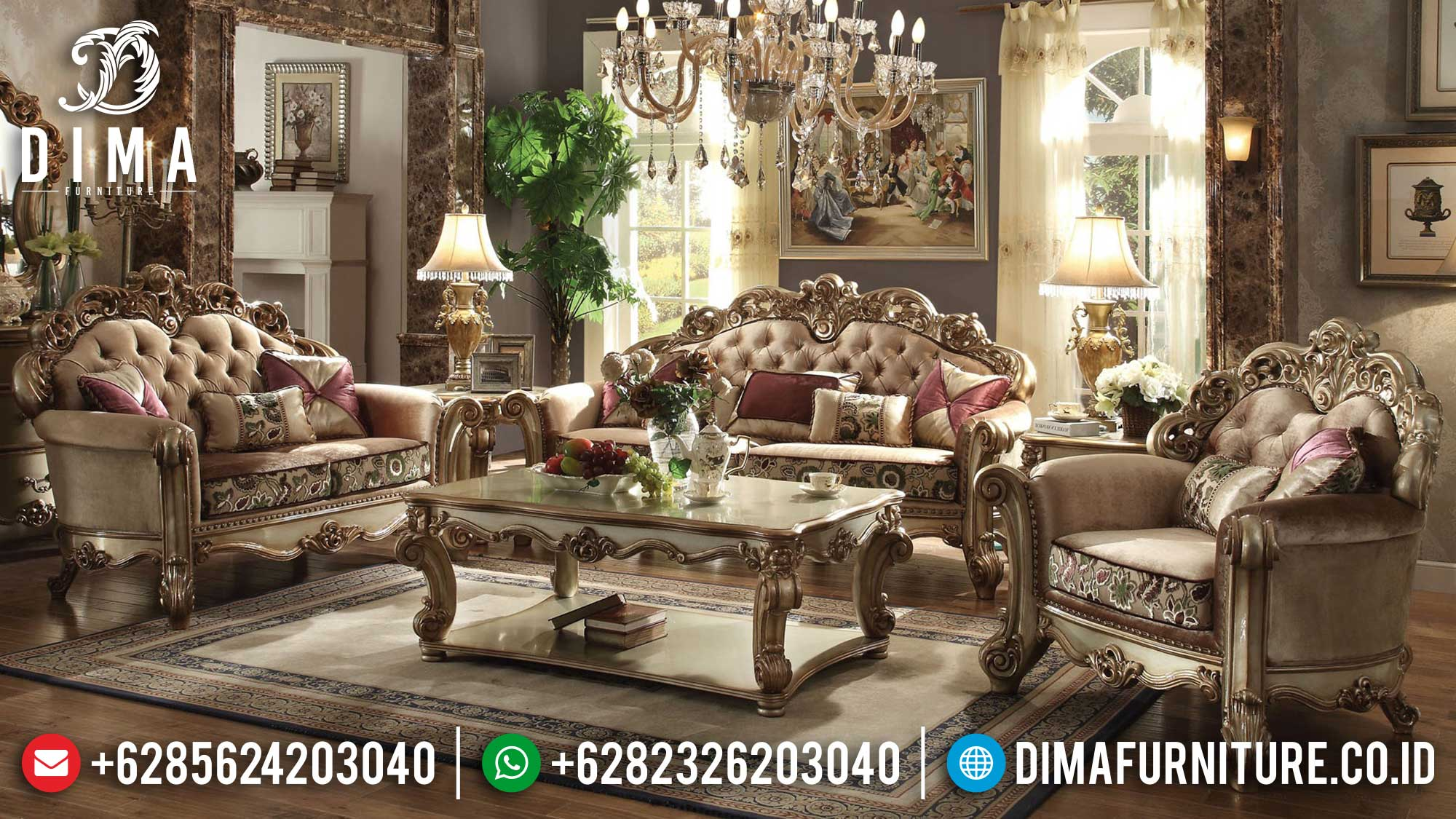 Big Sale Set Sofa Tamu Jepara Luxury Carving Classic Terbaru Ttj-1538