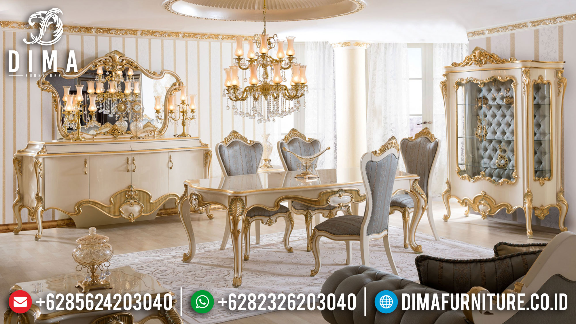 Buy Now Meja Makan Mewah Jepara Luxury Classic Carving Terbaru TTJ-1387