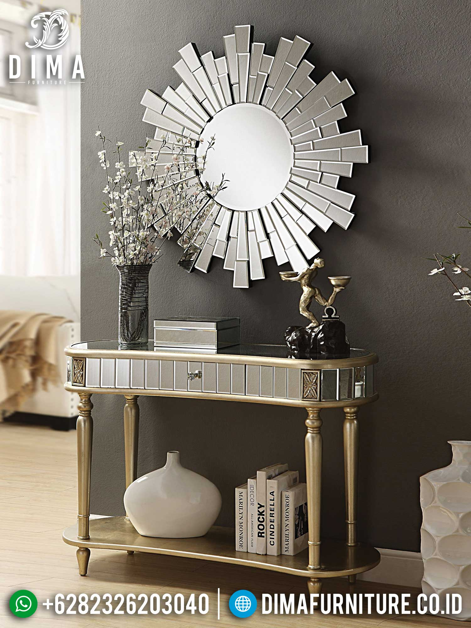 Clarissa Set Meja Konsul Modern Luxury Style Full Glasses Living Room Idea TTJ-1443