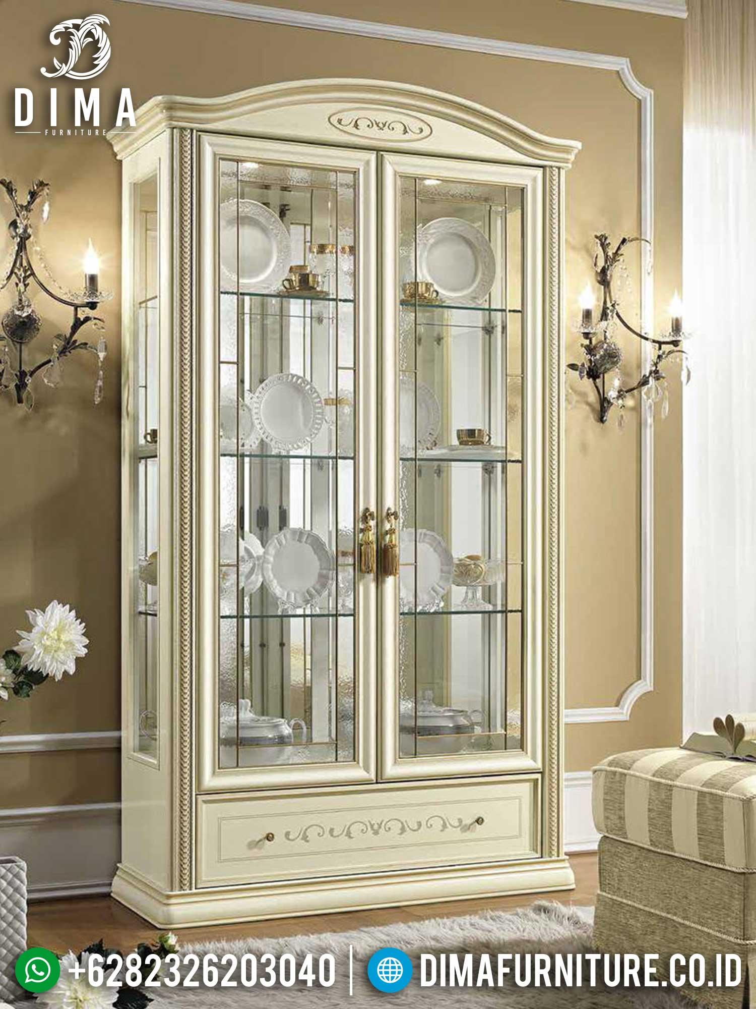 Classic Lemari Hias Kaca Mewah New Furniture Jepara Luxury Terbaru TTJ-1453