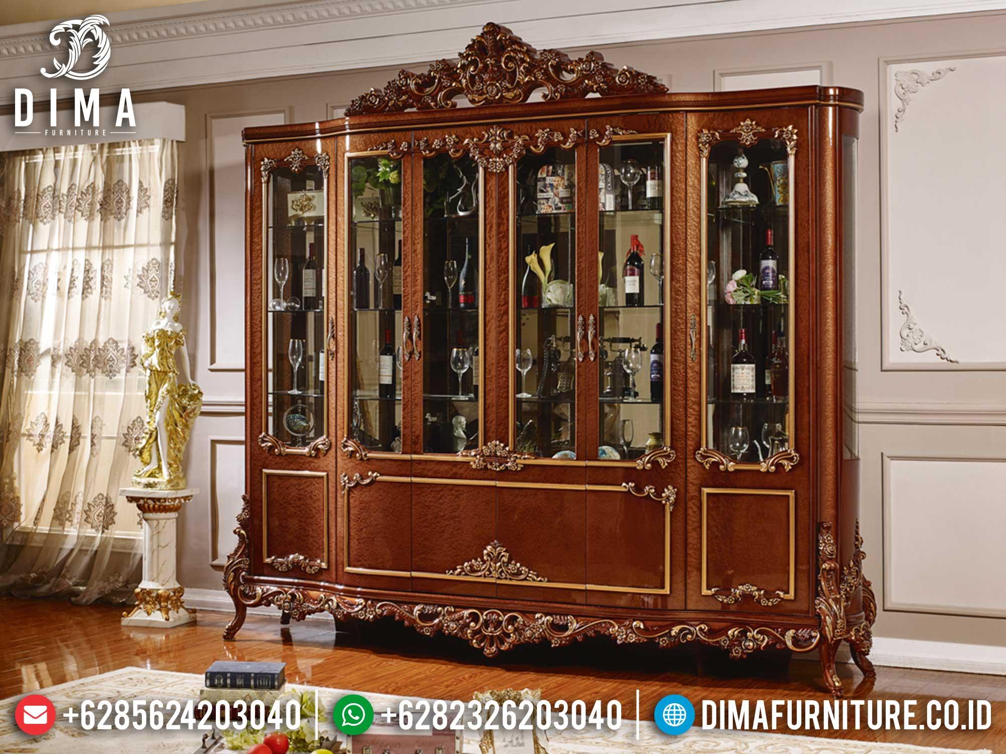 Desain Lemari Hias Mewah Jati Natural Kombinasi Elegant Style Luxury TTJ-1400