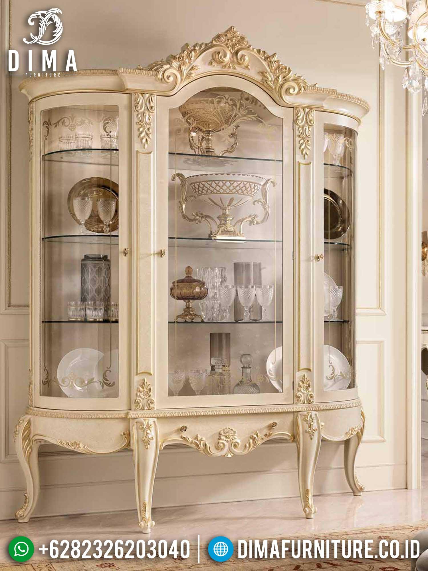 Desain Lemari Kaca Hias Mewah Putih Duco Luxury Elegant Style TTJ-1454