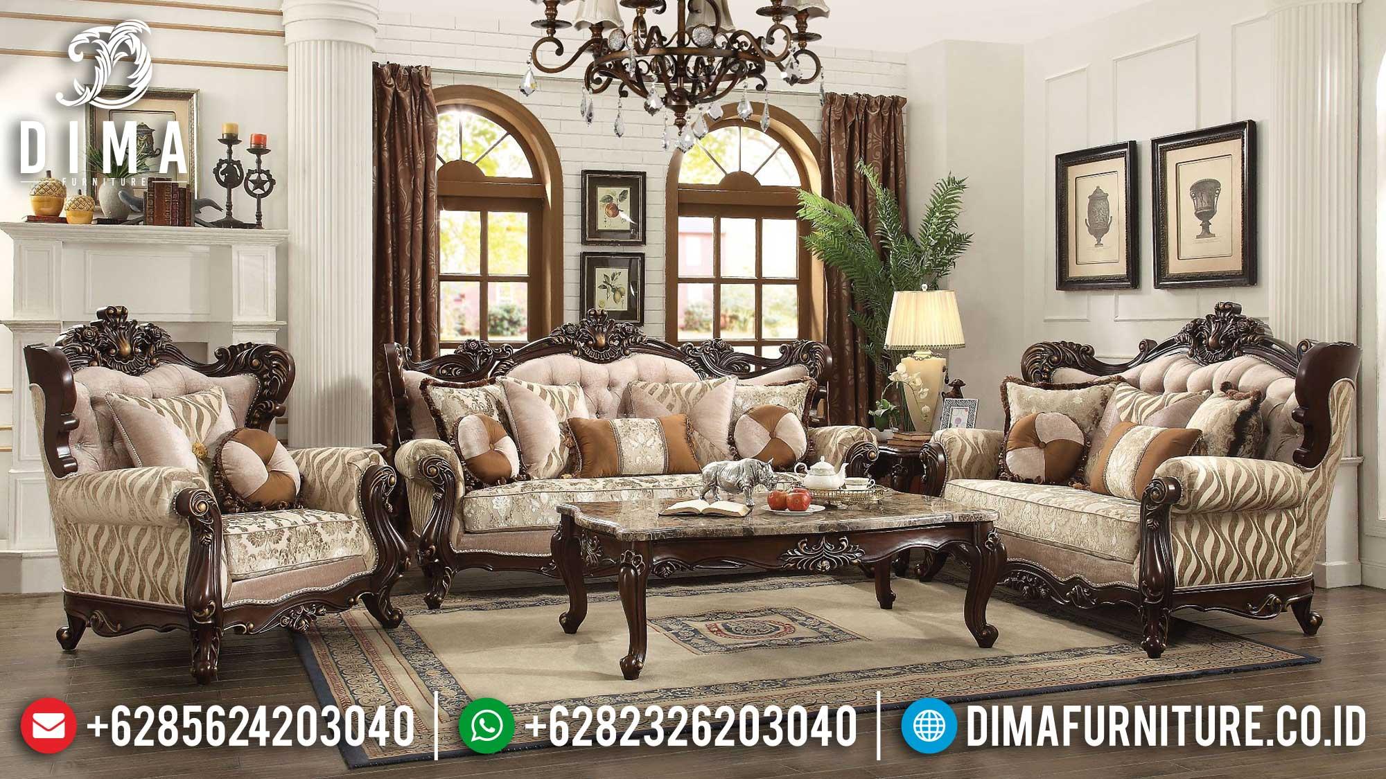 Desain Sofa Ruang Tamu Mewah Classic Konsep Luxury Interior Inspiring TTJ-1522