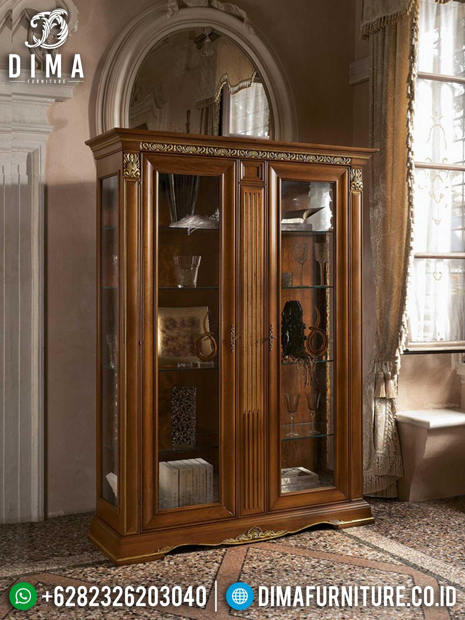 Elegant Carving Lemari Hias Mewah Jepara Best Quality Furniture Terbaru TTJ-1455