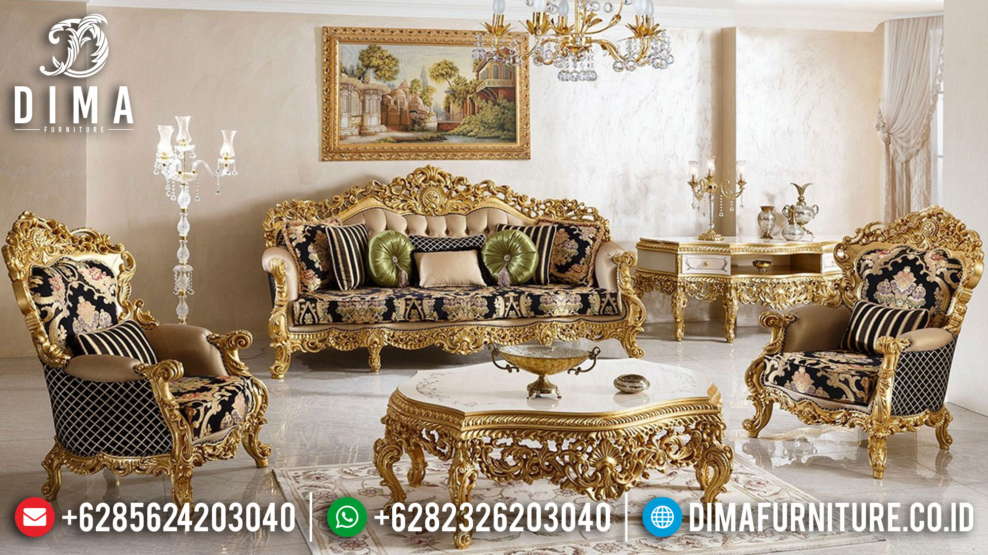 Great Sofa Tamu Mewah Jepara Luxury Carving Golden Base Glossy Duco Color TTJ-1537