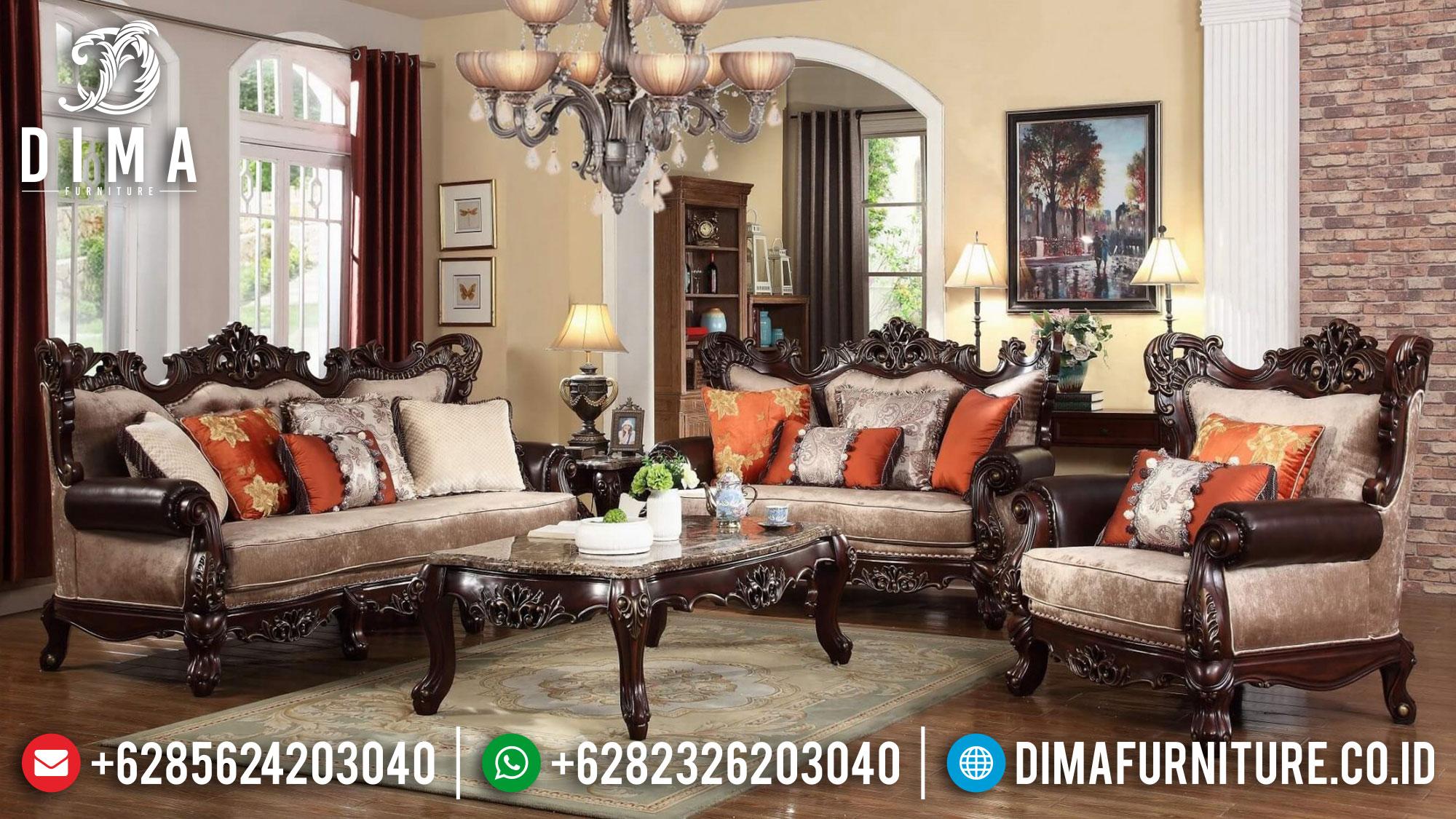 Harga Sofa Tamu Jati Mewah Klasik Natural Luxury Kayu Perhutani TTJ-1521
