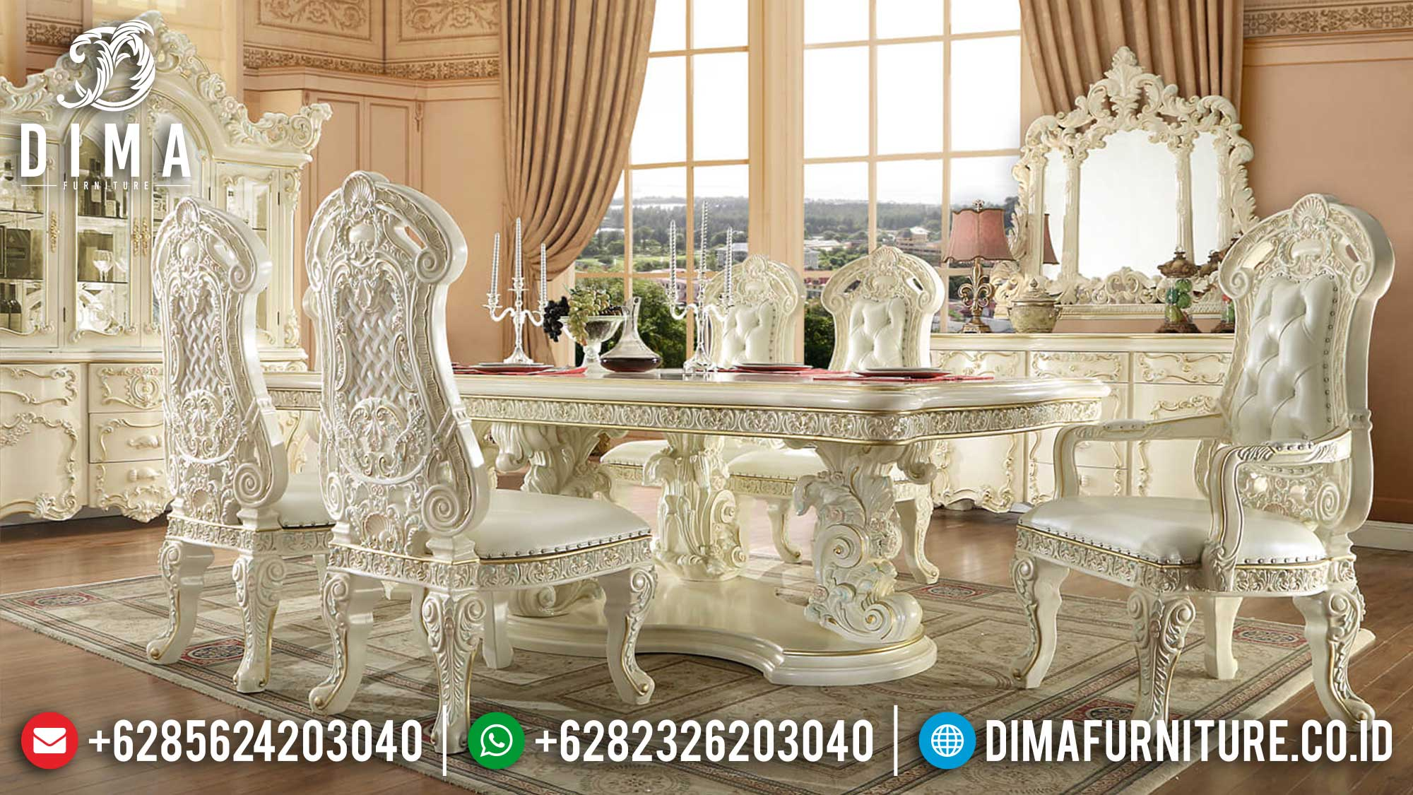 Jual Meja Makan Mewah Jepara Luxury Carving Classic Italian Design TTJ-1374