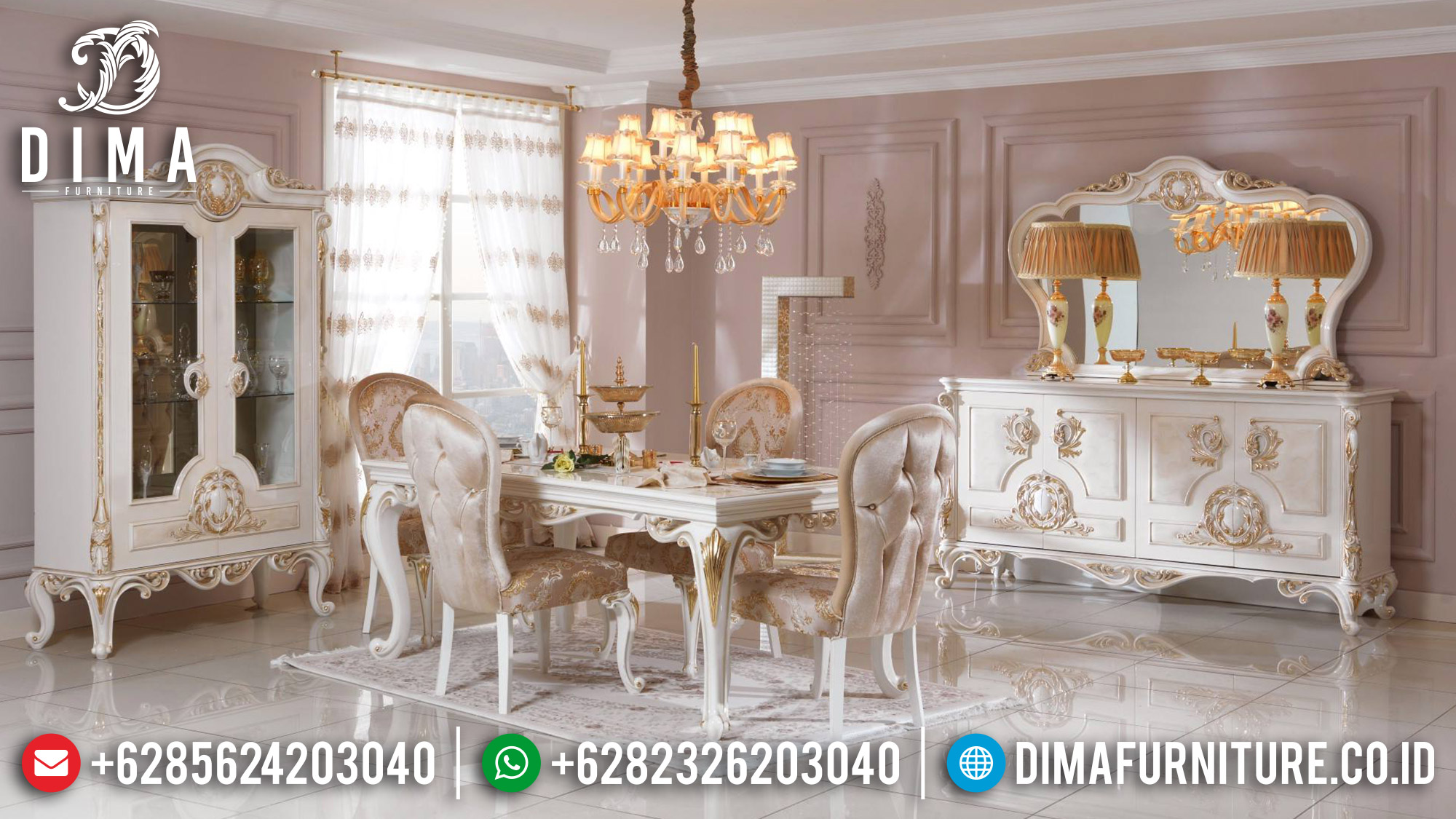Kursi Meja Makan Ukiran Set Meja Makan Mewah Luxury Jepara New Design Classic TTJ-1375