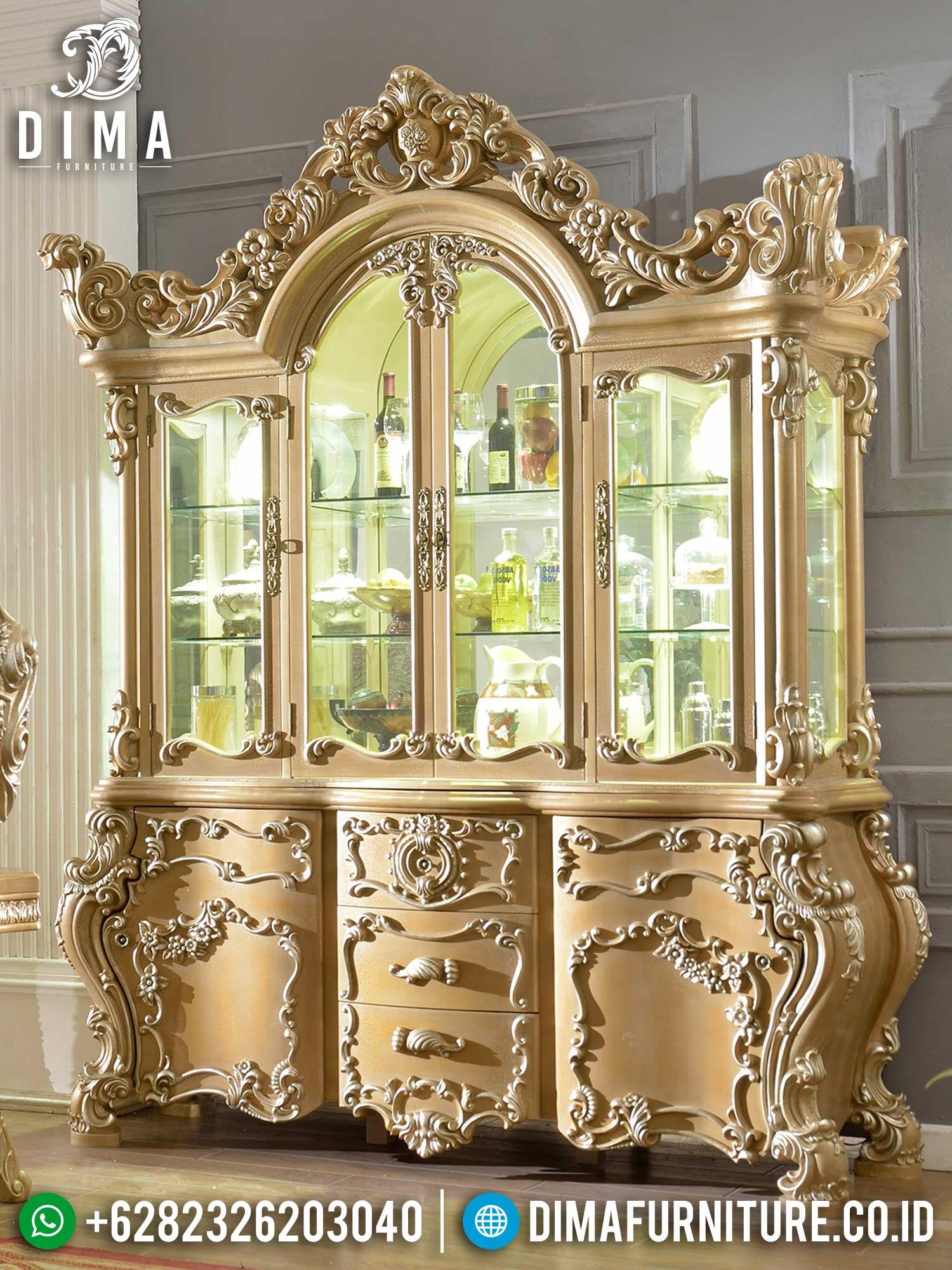 Lemari Hias Mewah Terbaru Luxury Carving Jepara Elegant Design TTJ-1449
