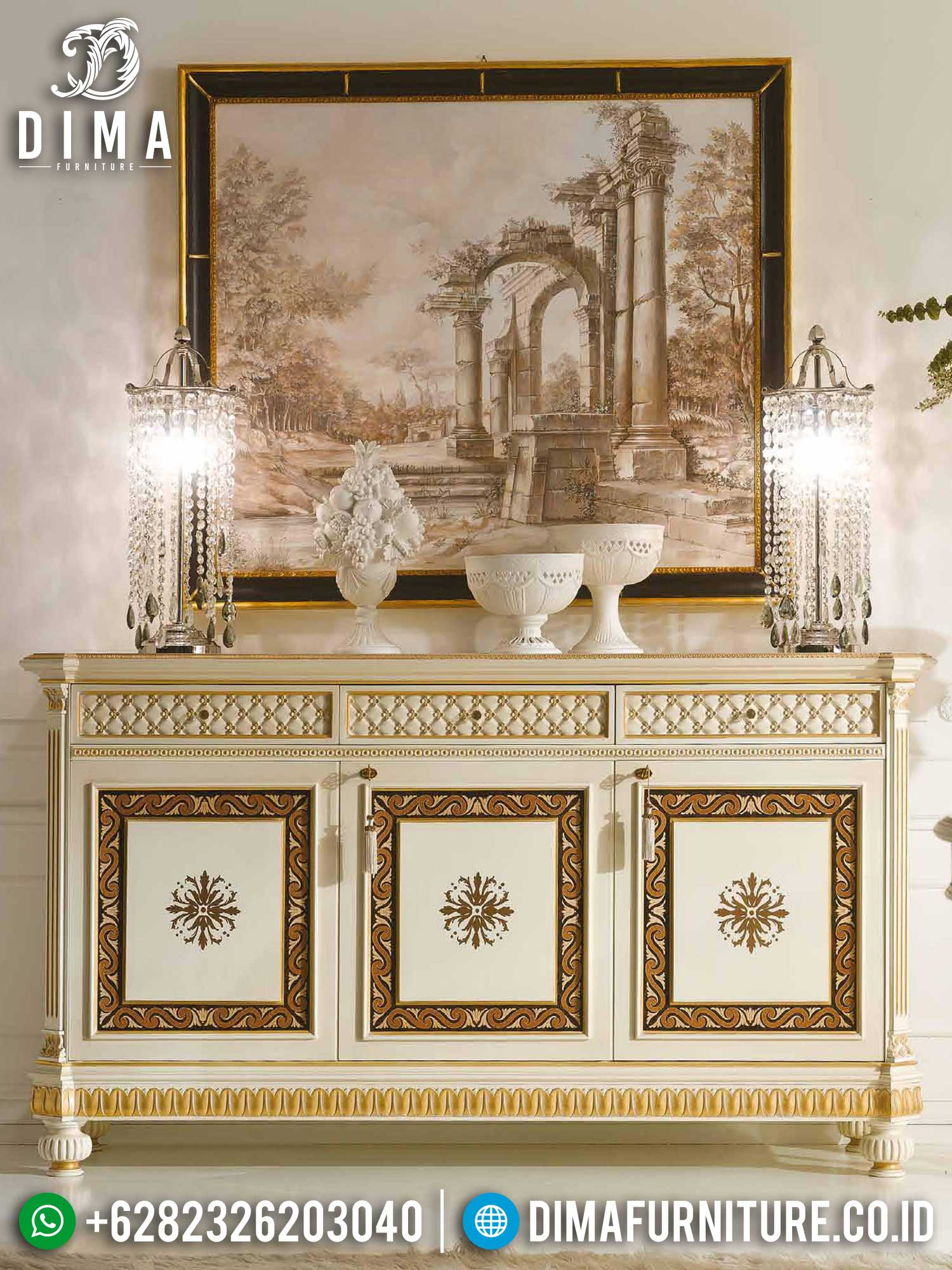 Meja Konsul Ukiran Jepara Luxury Gorgeous Classic Style Furniture Jepara TTJ-1393