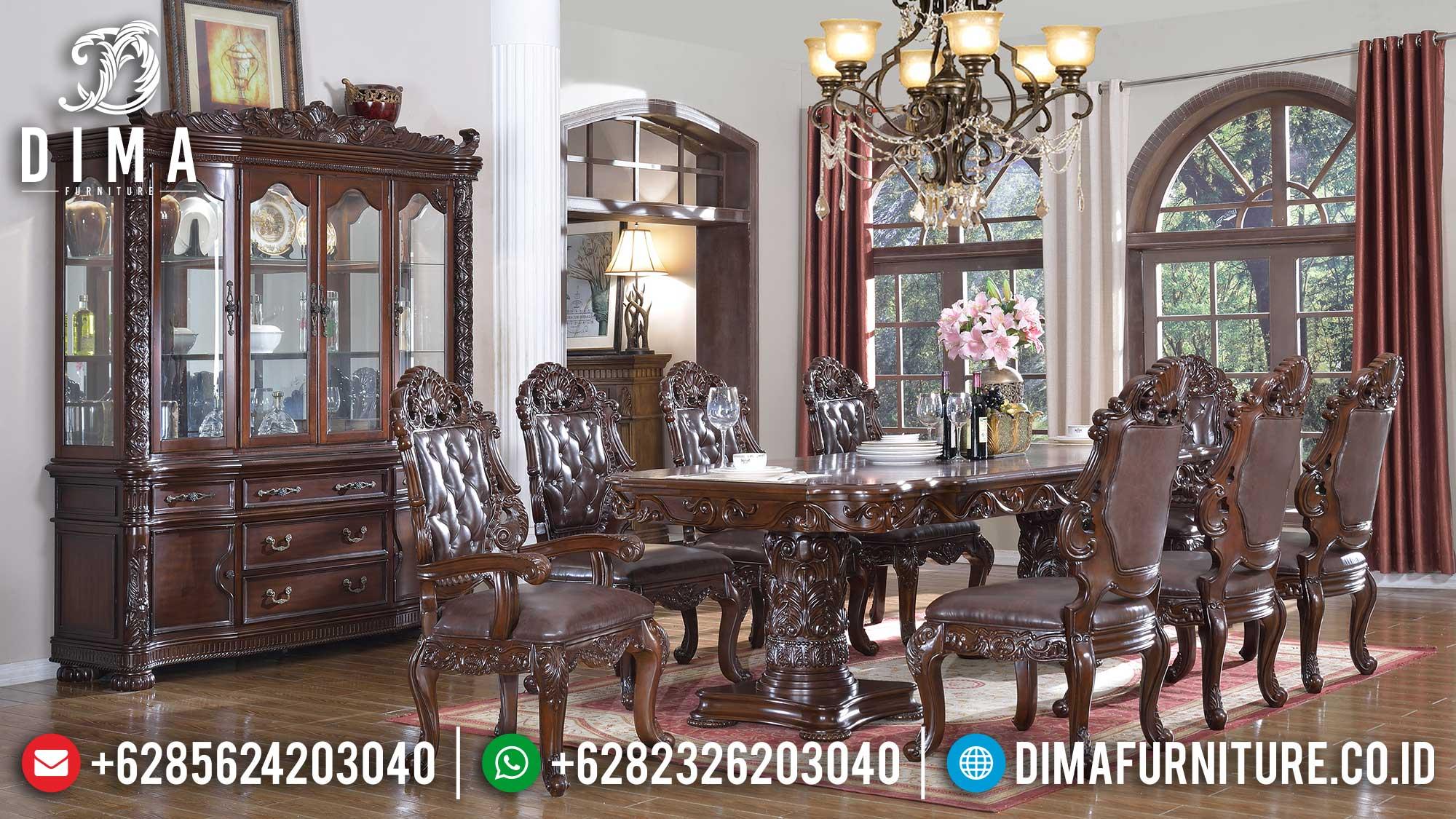 Meja Makan Mewah Jati Classic Natural Luxury Carving Jepara Best Price TTJ-1380