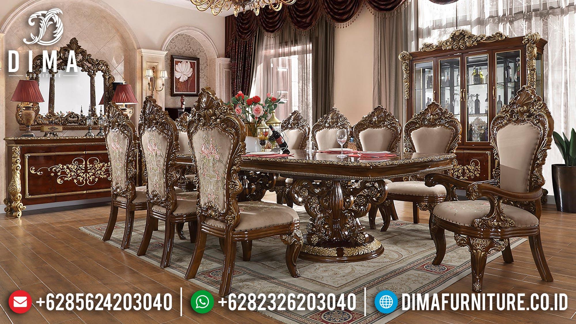 Meja Makan Ukiran Jepara, New Meja Makan Mewah Luxury, Desain Kursi Meja Makan Ukir Classic TTJ-1378