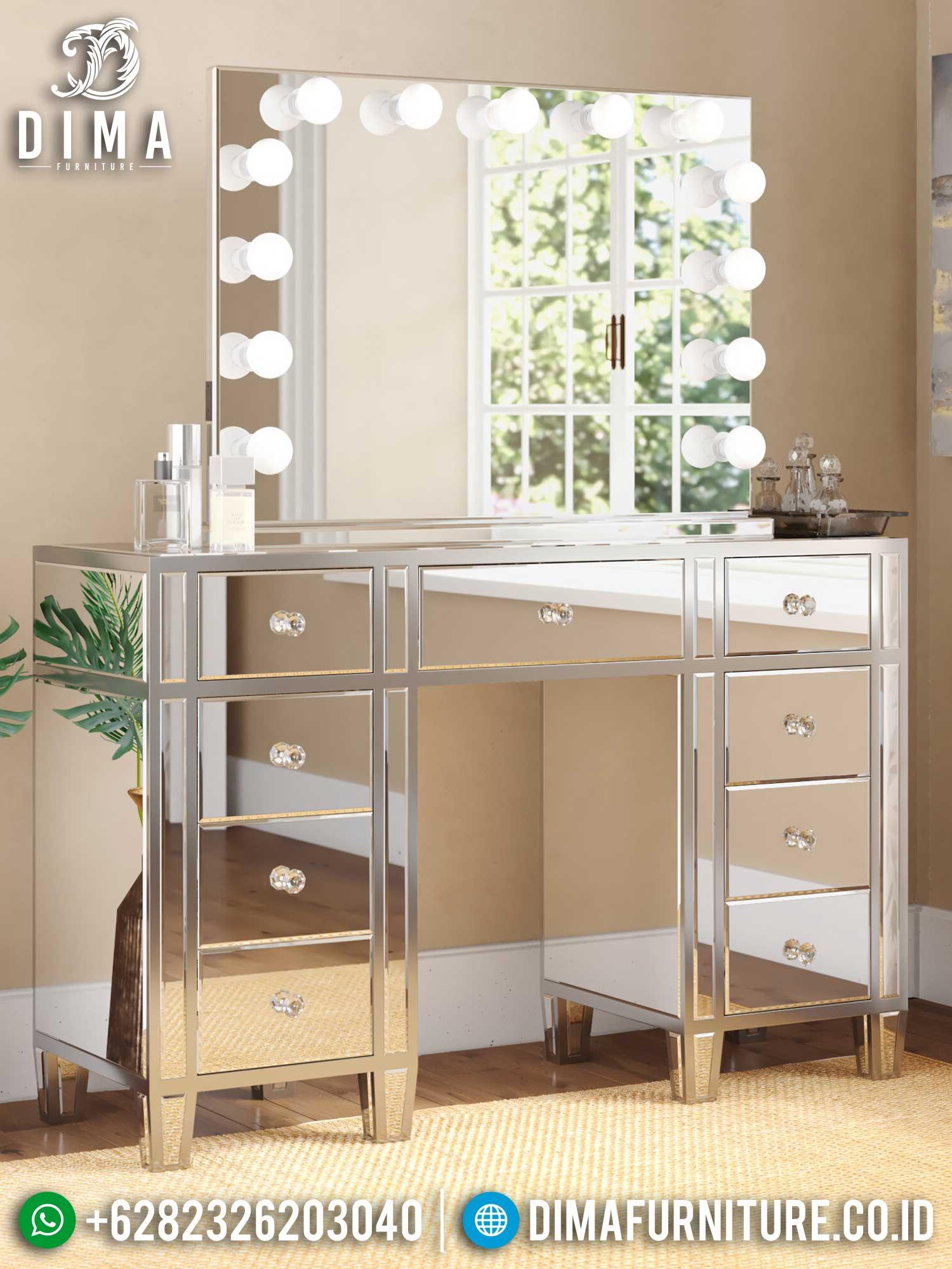 Meja Rias Minimalis Cantik Simple Modern Design Full Kaca Lampu TTJ-1415